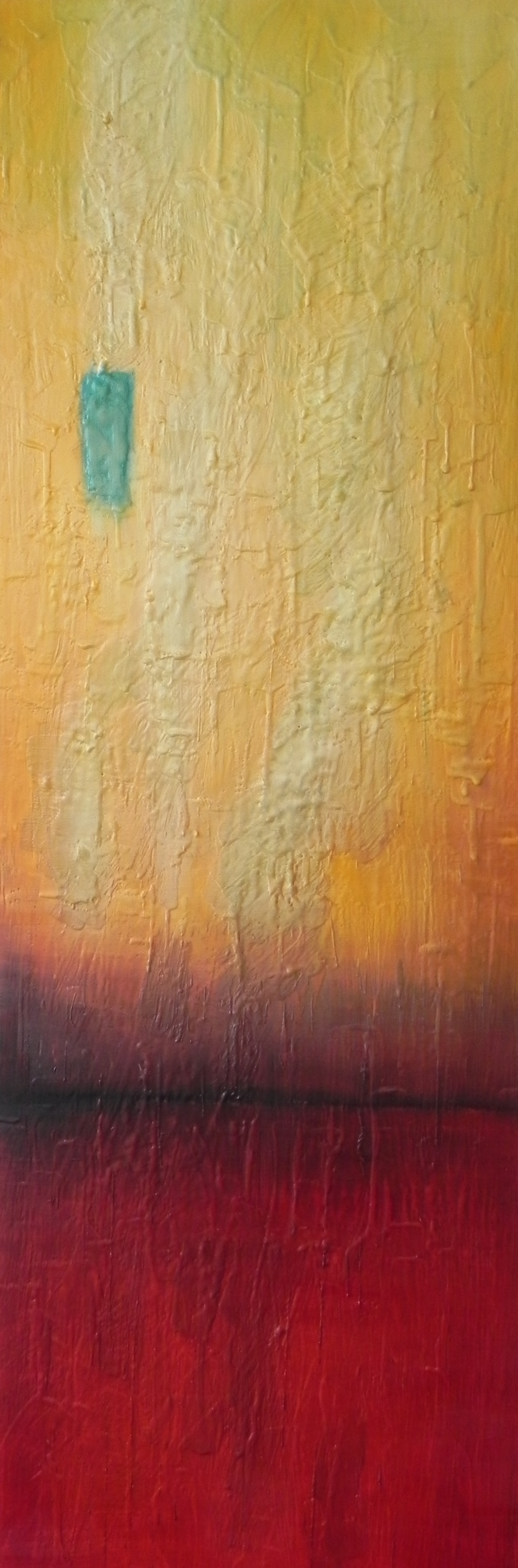 "ALIGHTING, 2014. 36"" x 12"". Cradled Wood Panel. Oil and Wax. Copyright © Karen Santos 2014. SOLD"