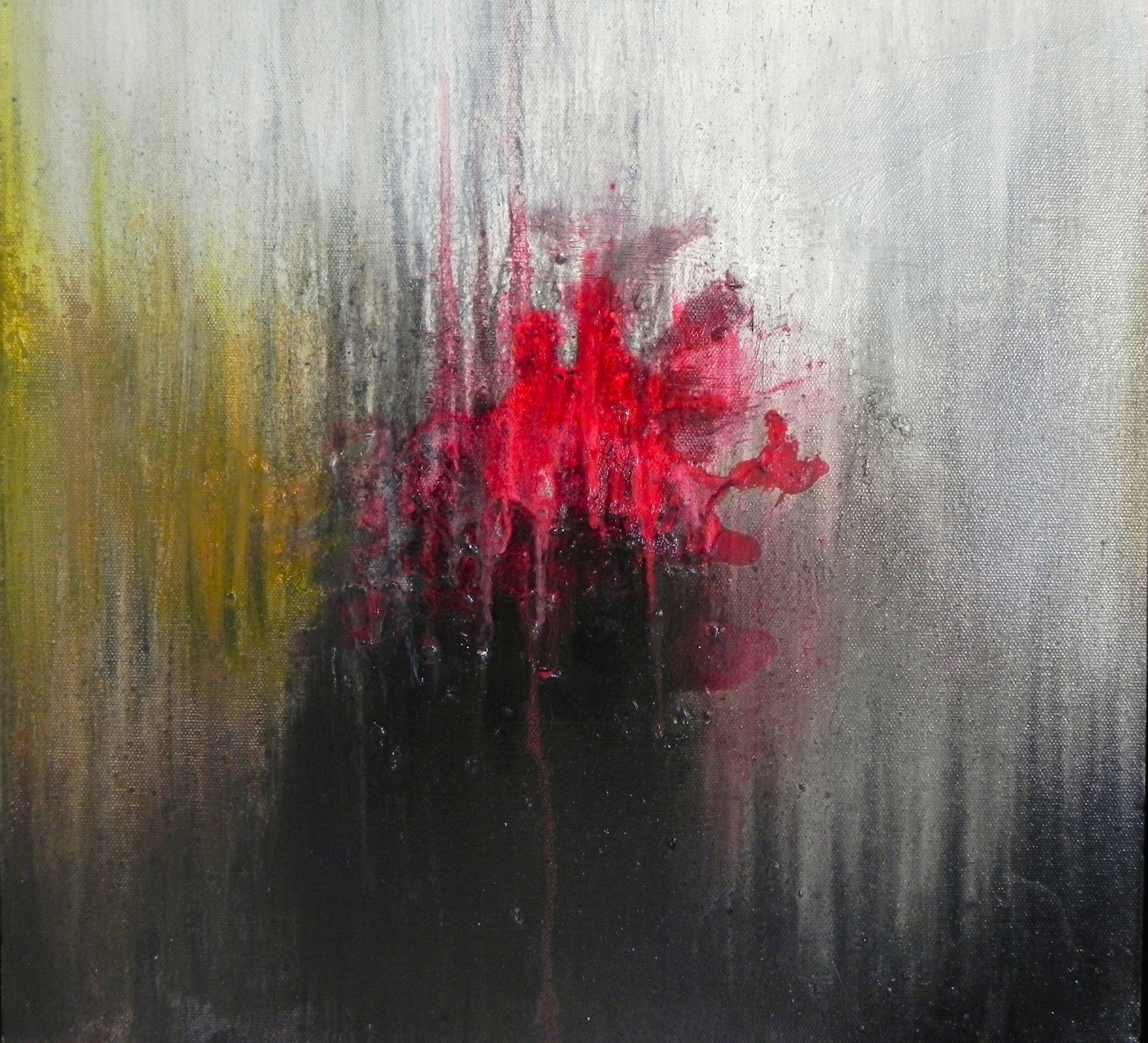"RED ORCHID, 2014. 16"" x 16"". Canvas. Oil. Copyright © Karen Santos 2014. SOLD."