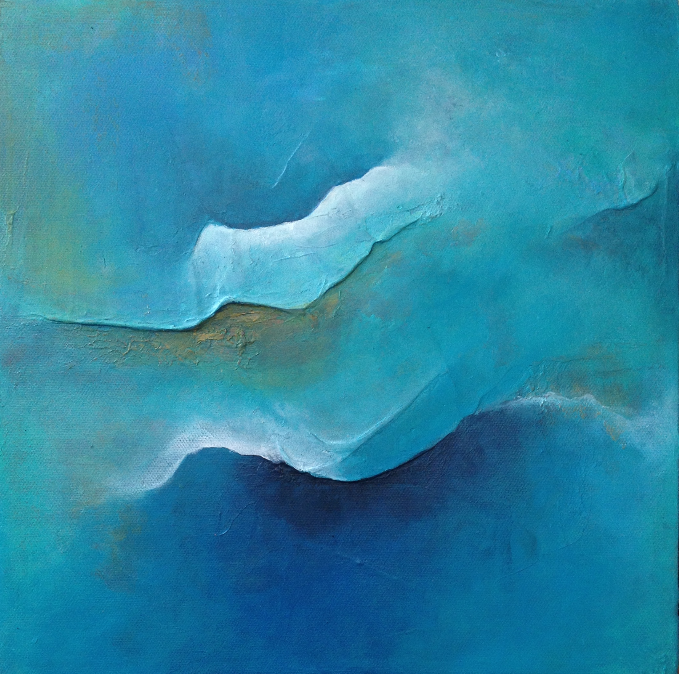 "OCEANIA, 2013. 12"" x 12"". Canvas. Mixed Media. Copyright © Karen Santos 2014. SOLD."