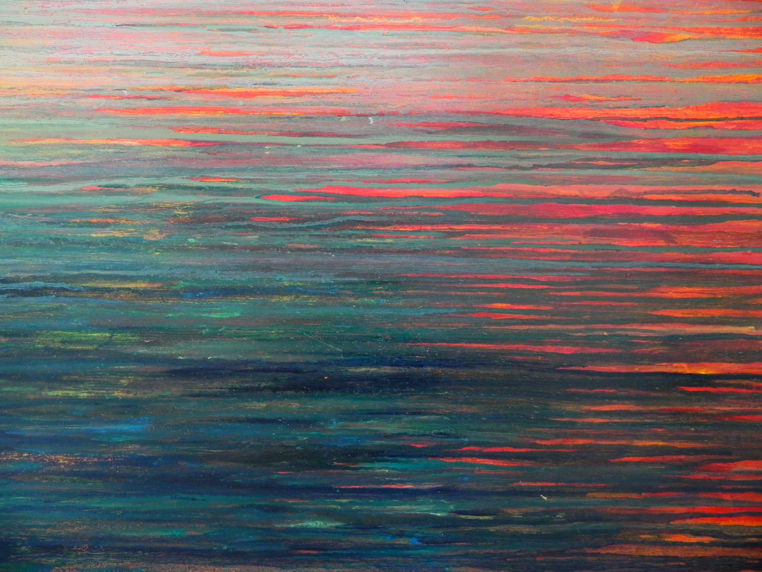 "SUNSET, 2012. 24"" x 36"". Plywood. Mixed Media. Copyright © Karen Santos 2013."