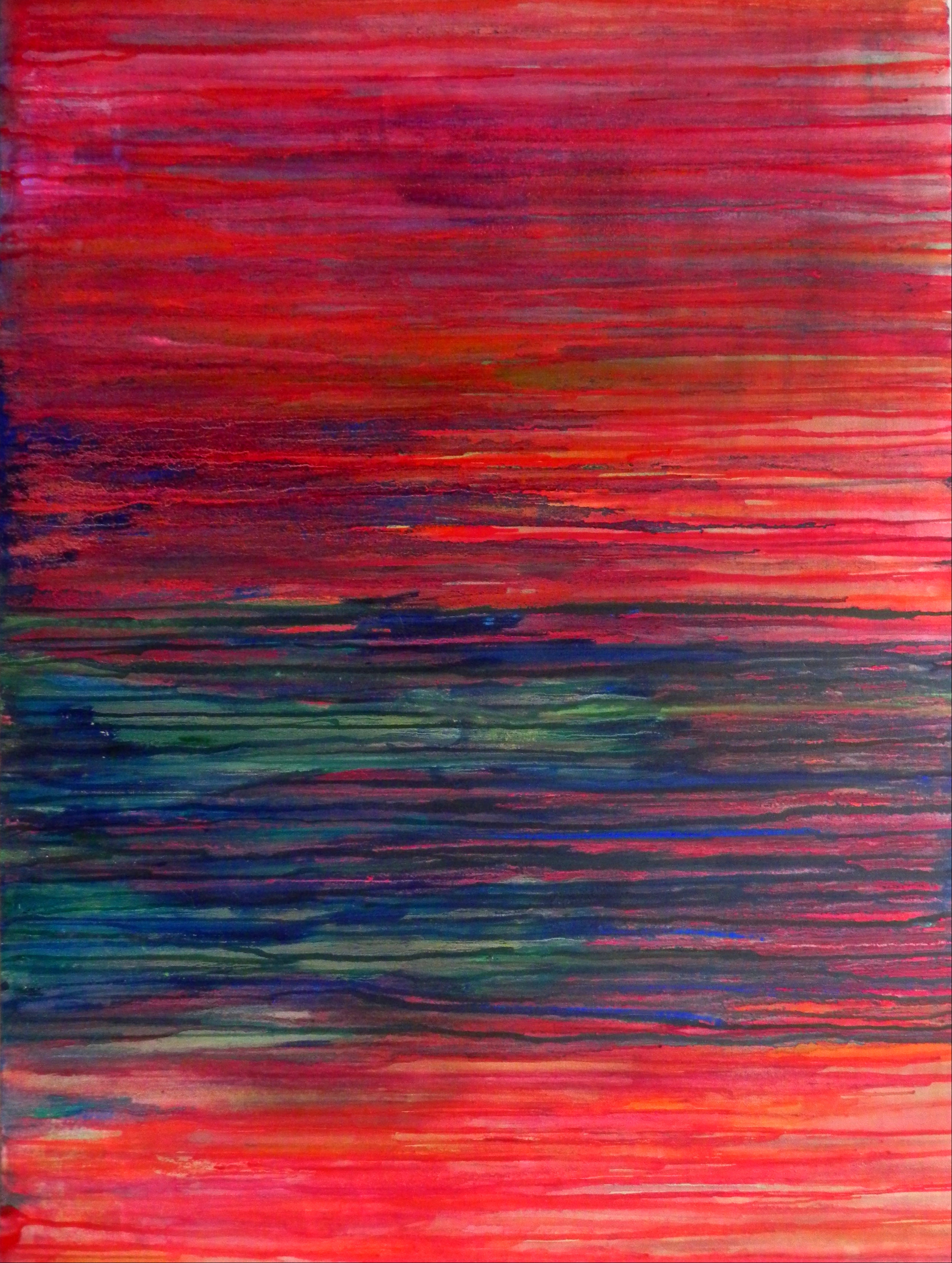 "WASHED AWAY, 2012. 40"" x 30"". Canvas. Mixed Media. Copyright © Karen Santos 2013."