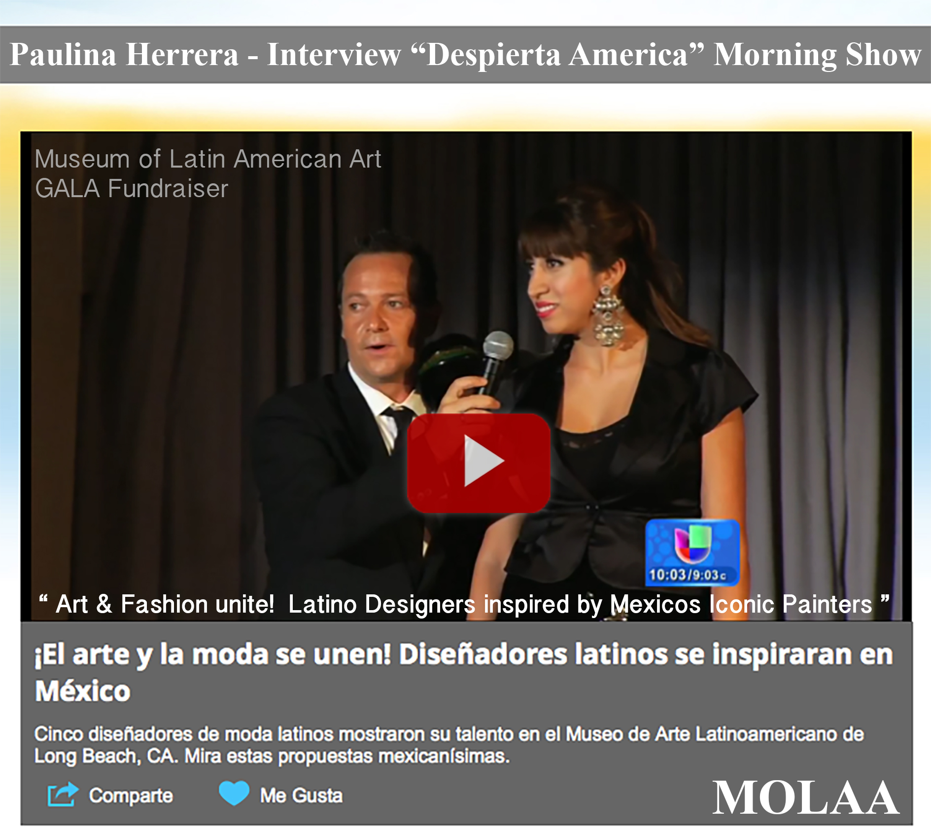 Paulina Herrera Interview Despierta America National Morning Show Univision 24 MOLAA Gala 2015