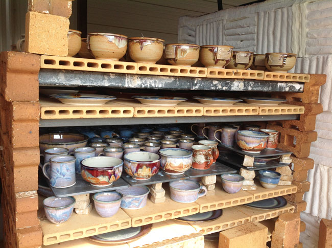 The kiln opened after the firing.