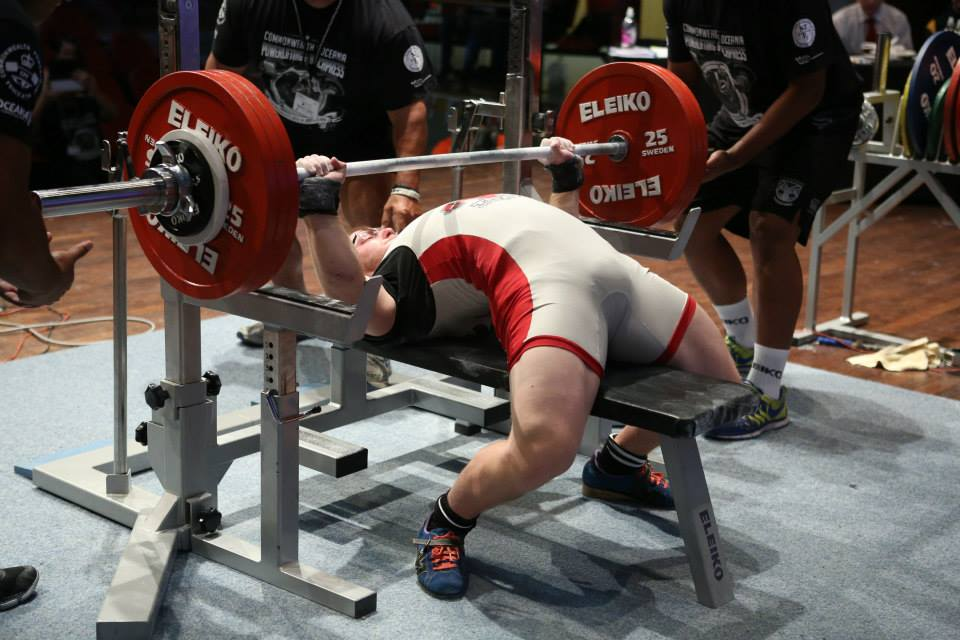This is a competitive bench press. It is a great representation of the extension and technique that oppose movements required to throw.