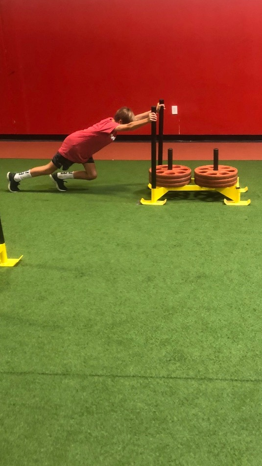 FORCE IS KING! Heavy sleds build strength in the appropriate positions.