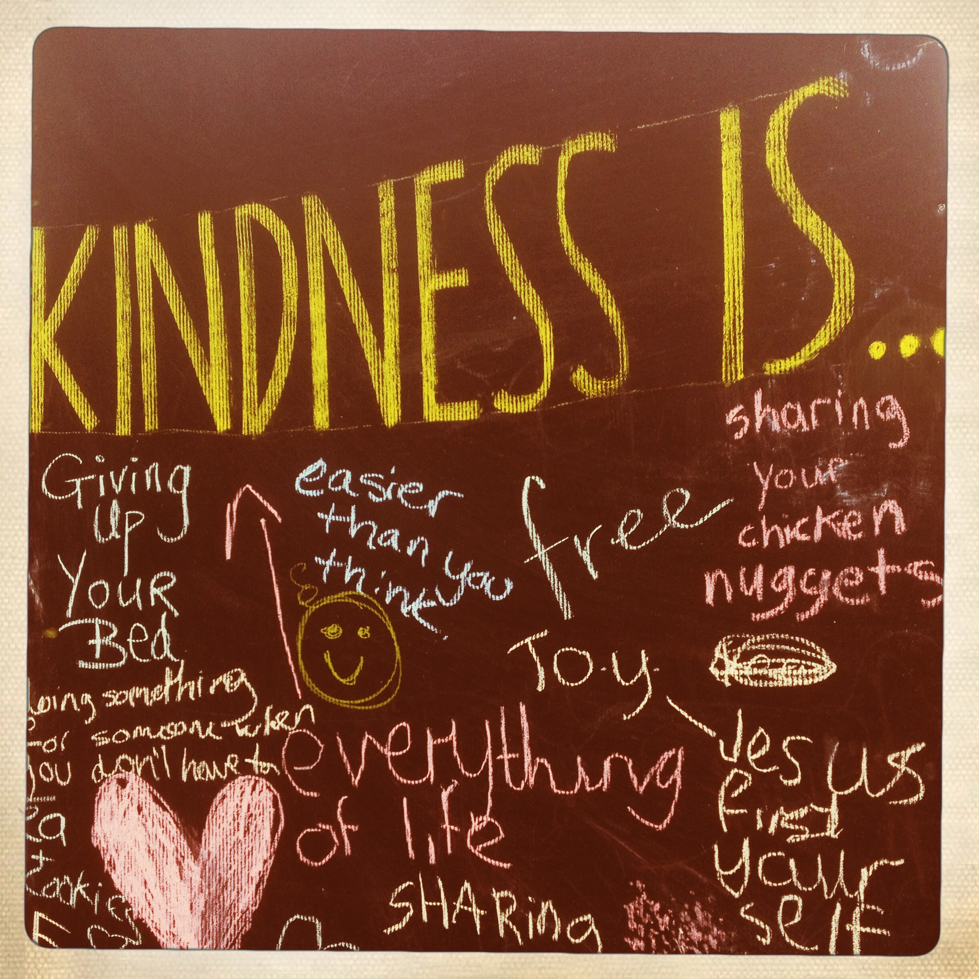 We set up three 8 ft blackboards and provided chalk for people to write and draw about their experiences of Kindness.