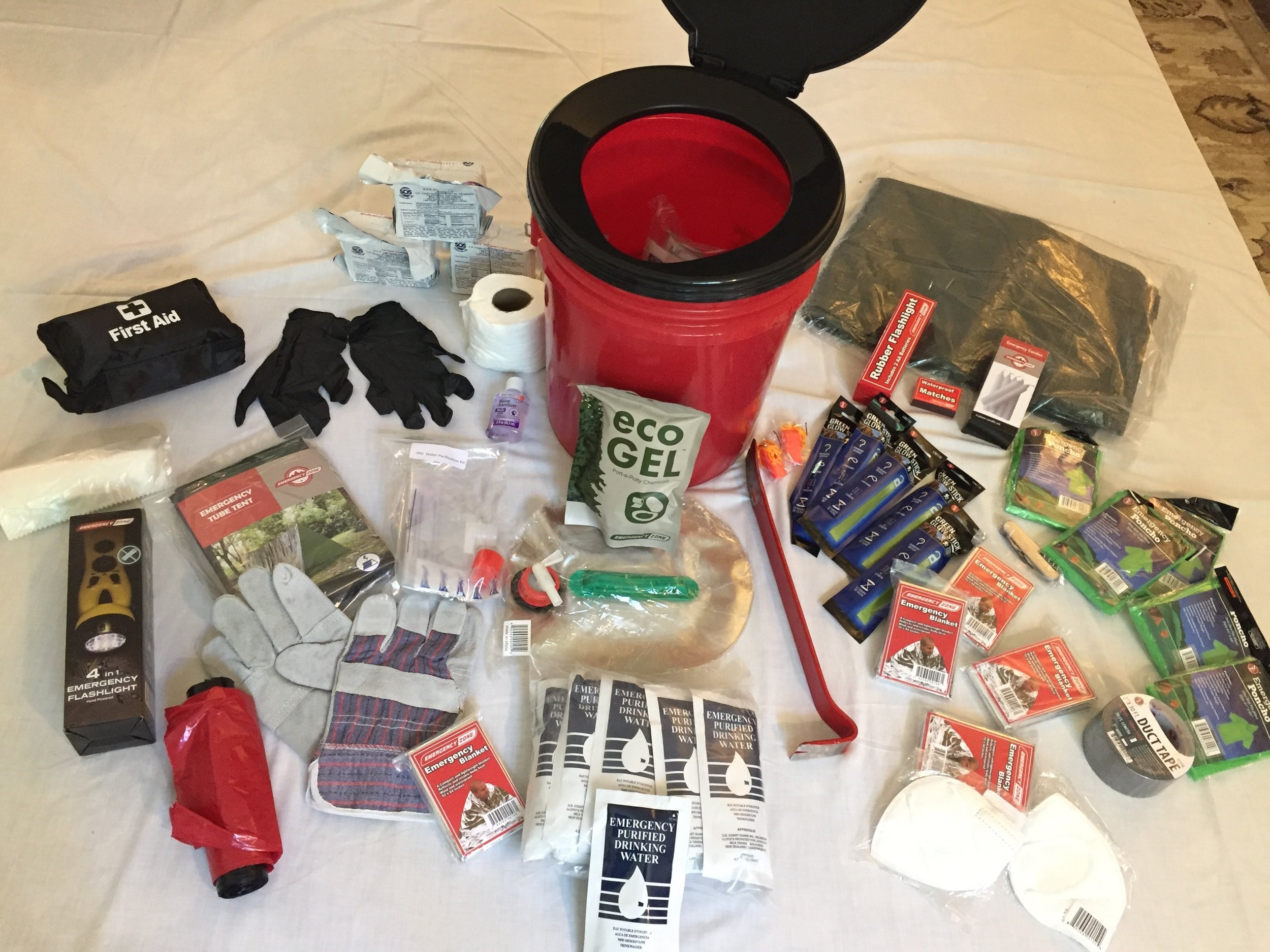 This bucket holds essentials (including a 'Honey Bucket' toilet kit) that enable ten people to use their workplace as an emergency shelter for three days. Do you have a stash like this to see your team through?