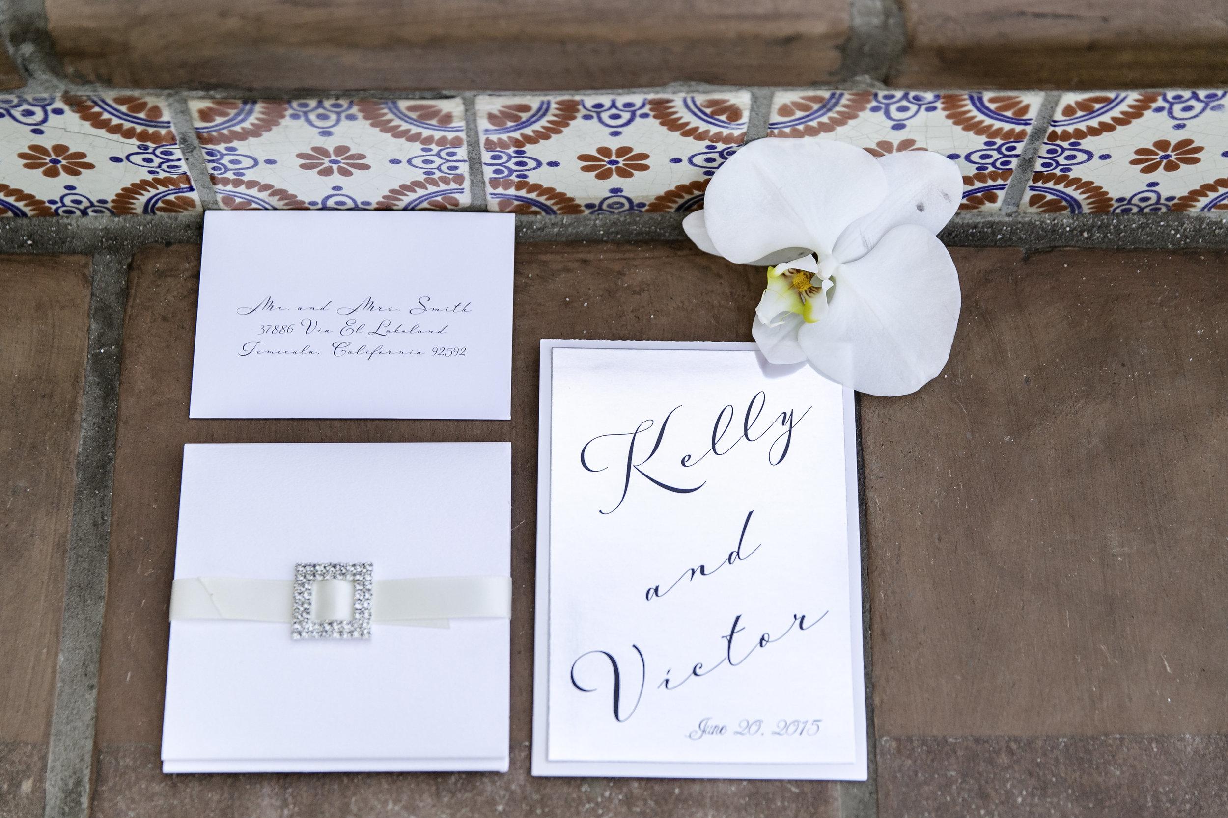 Glamorous White Wedding Invitation | Michellle Garibay Events | Ponte Vineyard Inn
