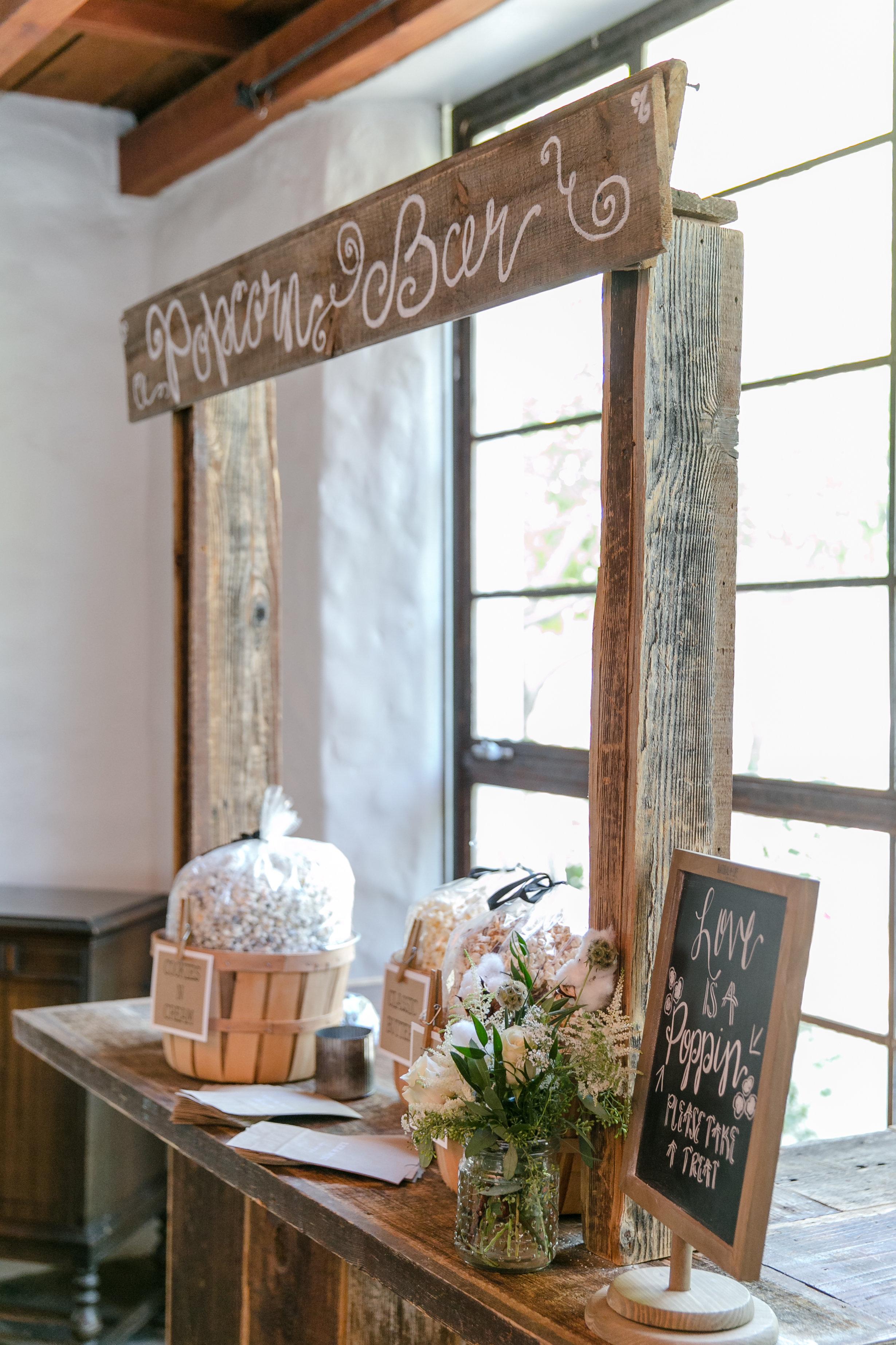 Rustic Popcorn Bar | Michelle Garibay Events
