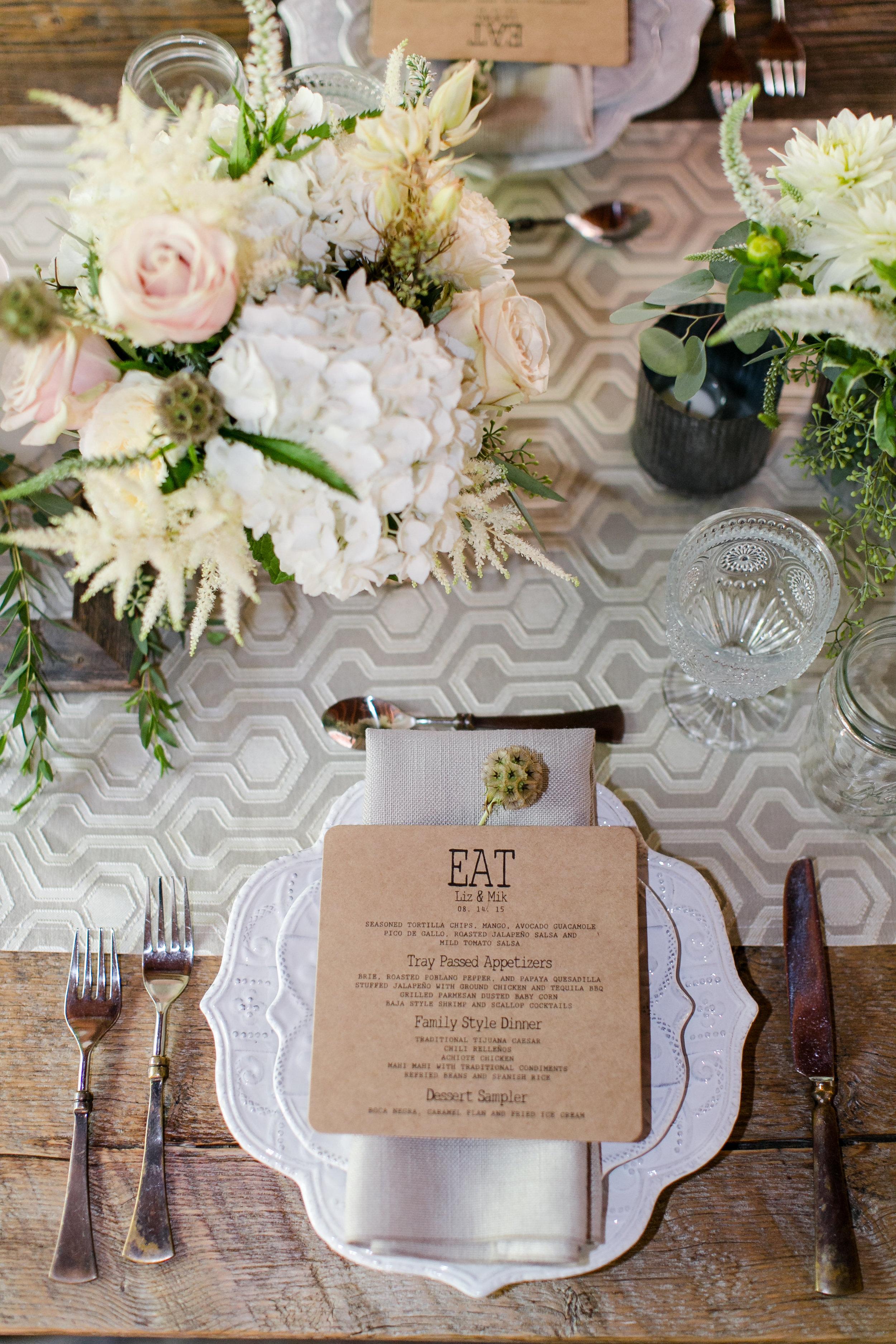 Craft Paper Menu Card | Michelle Garibay Events