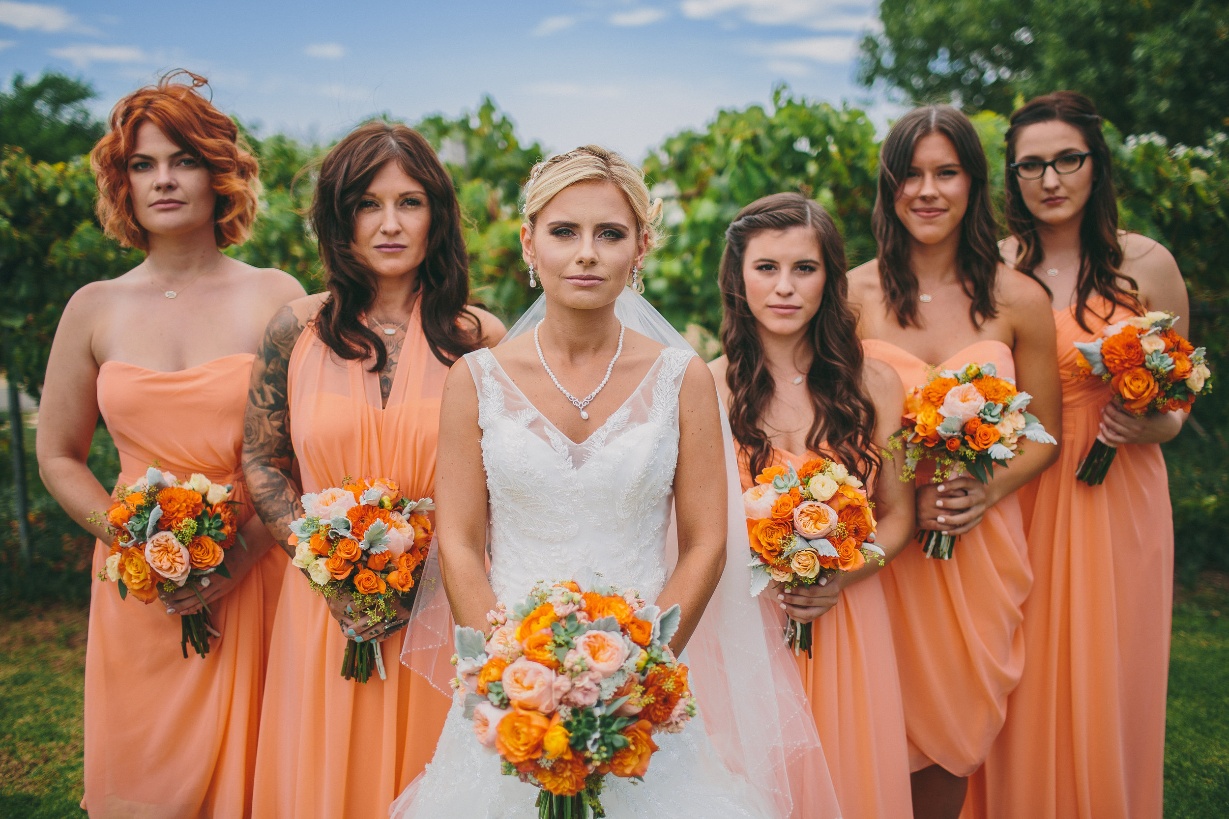Tangerine Bridesmaid Dresses | Michelle Garibay Events