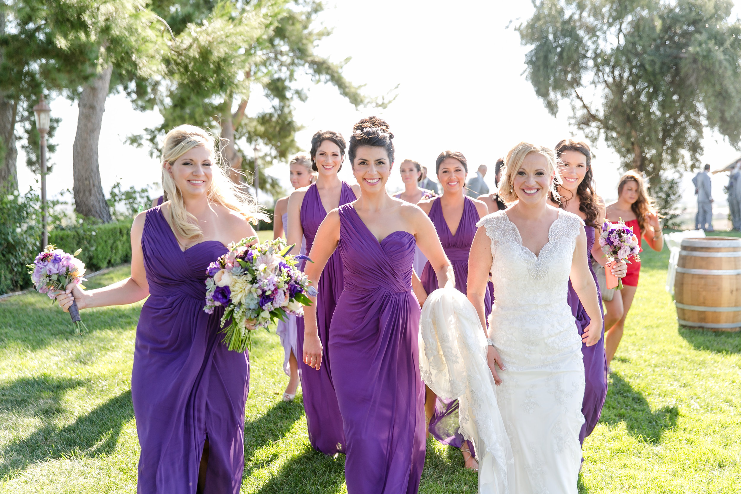 Bridesmaids in Shades  of Purple | Michelle Garibay Events | Leah Marie Photography