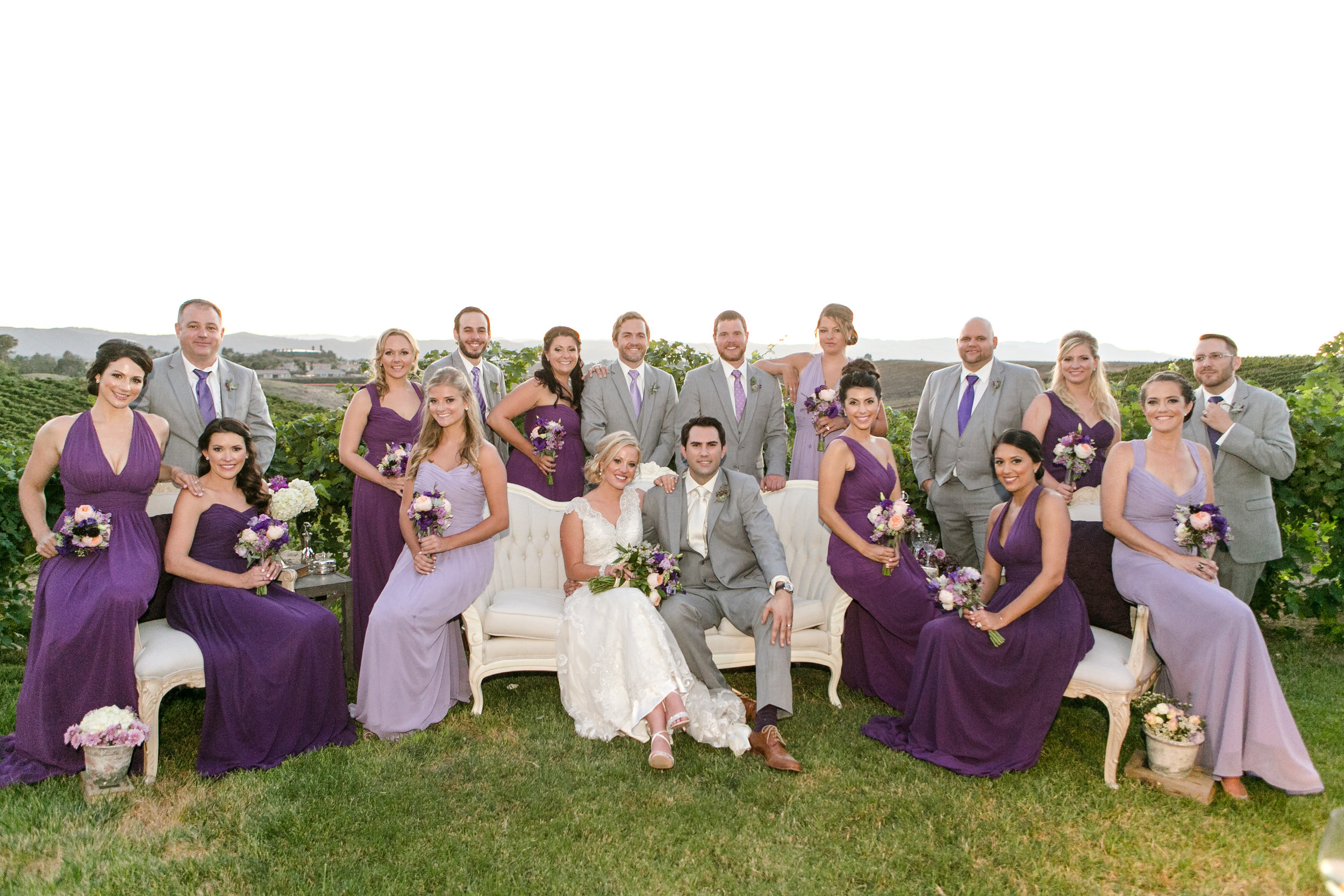 Gray and Purple Bridal Party | Michelle Garibay Events | Leah Marie Photography