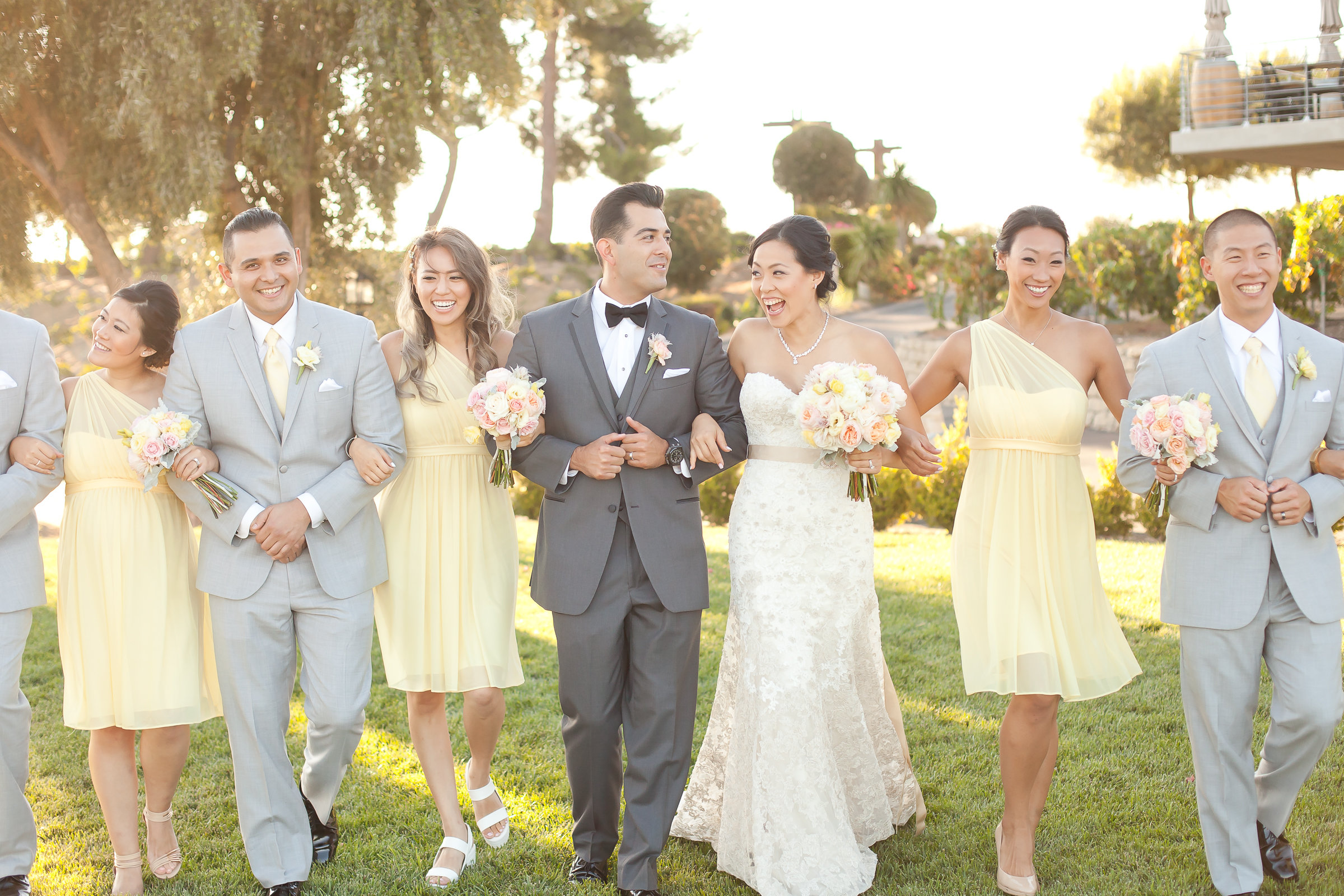 Yellow and Gray Bridal Party | Michelle Garibay Events