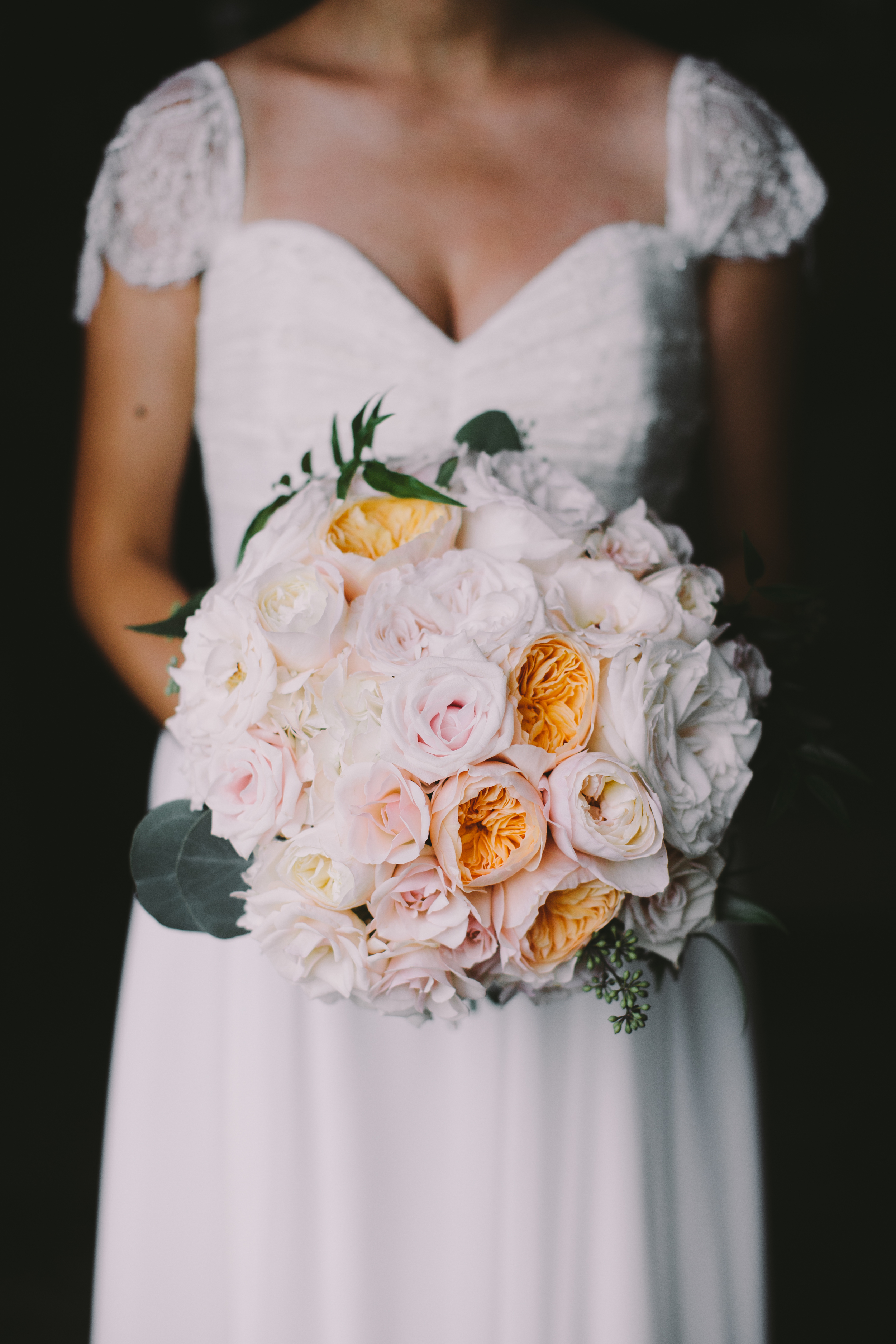 Peach Bride's Bouquet | Boho Chic Oahu Beachfront Wedding | Michelle Garibay Events