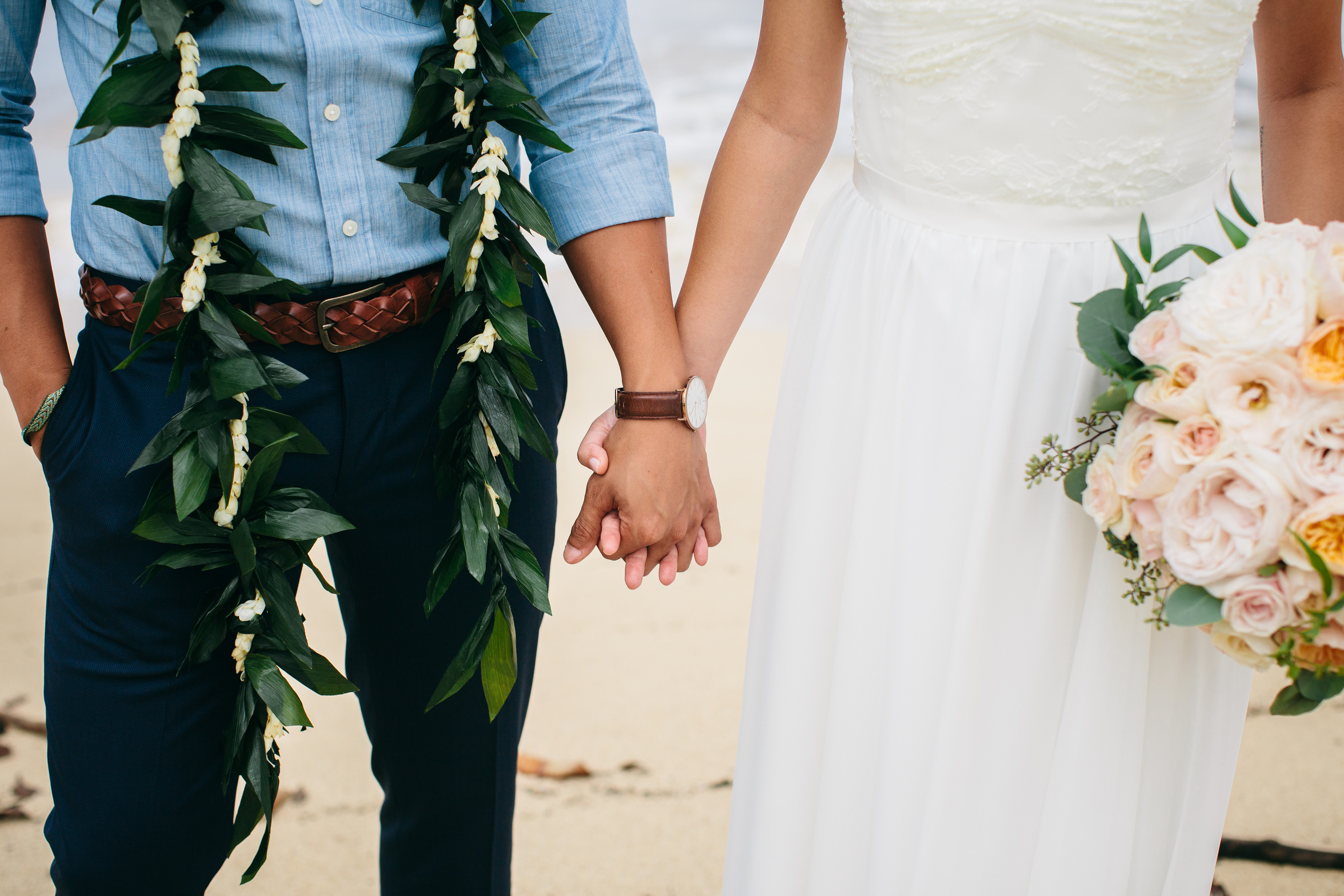 Groom's Maile Lei | Boho Chic Oahu Beachfront Wedding | Michelle Garibay Events