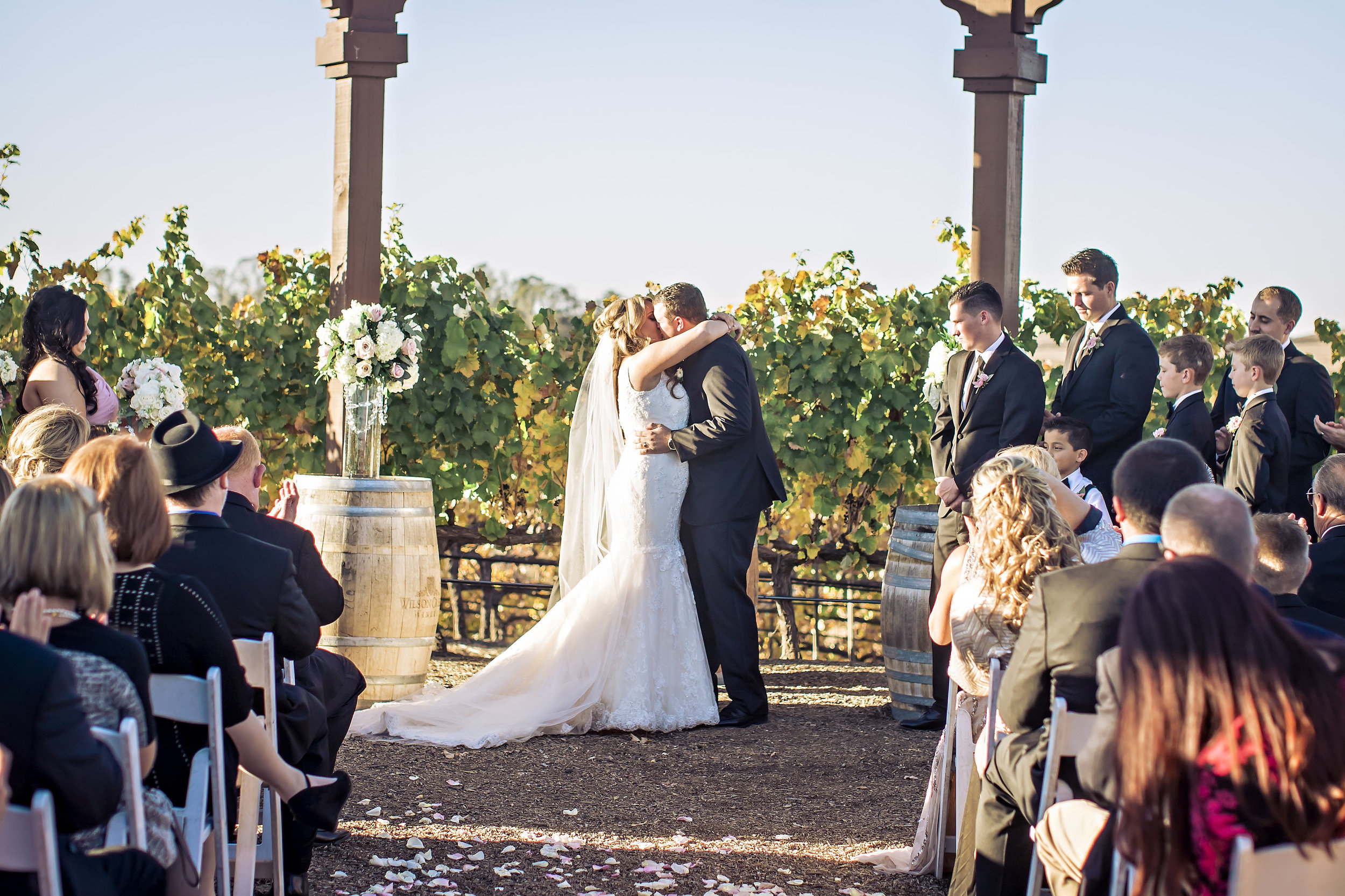Merlot Mesa First Kiss | Wilson Creek Winery | Temecula Private Estate Wedding | Michelle Garibay Events