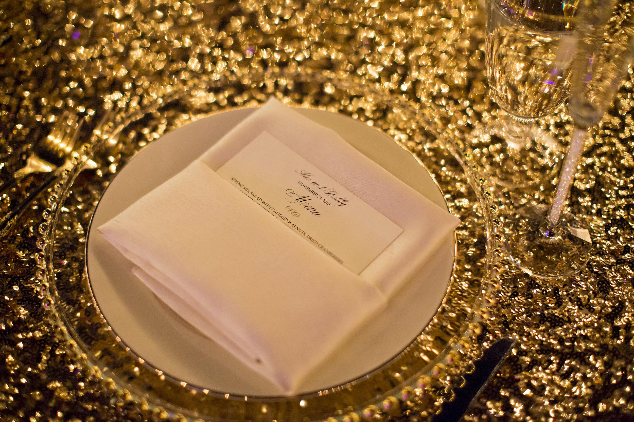 Gold Sequin and Blush Tablescape | Temecula Private Estate Wedding | Michelle Garibay Events