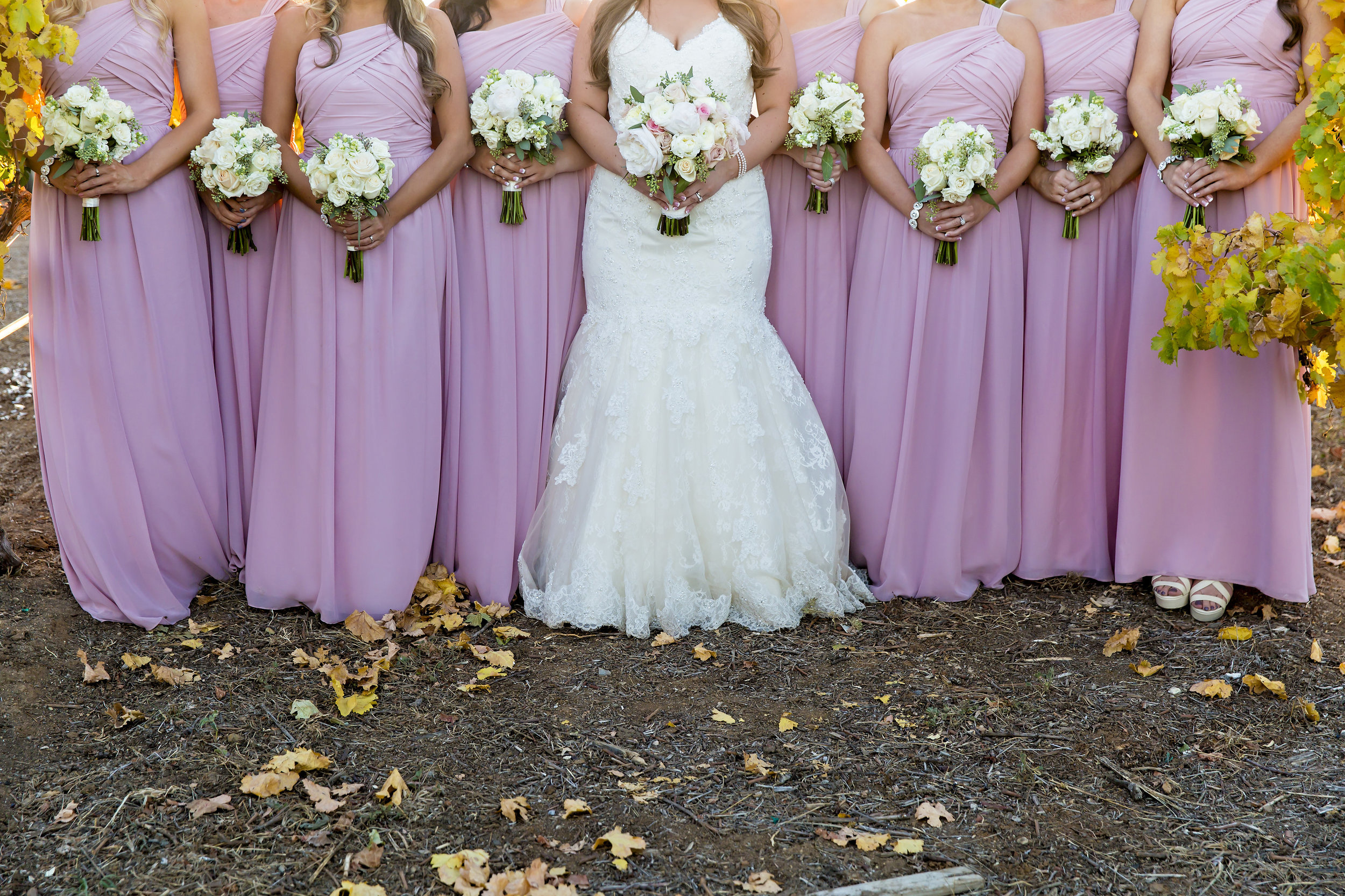 Pink Bridesmaid Dresses and White Bouquets | Temecula Private Estate Wedding | Michelle Garibay Events