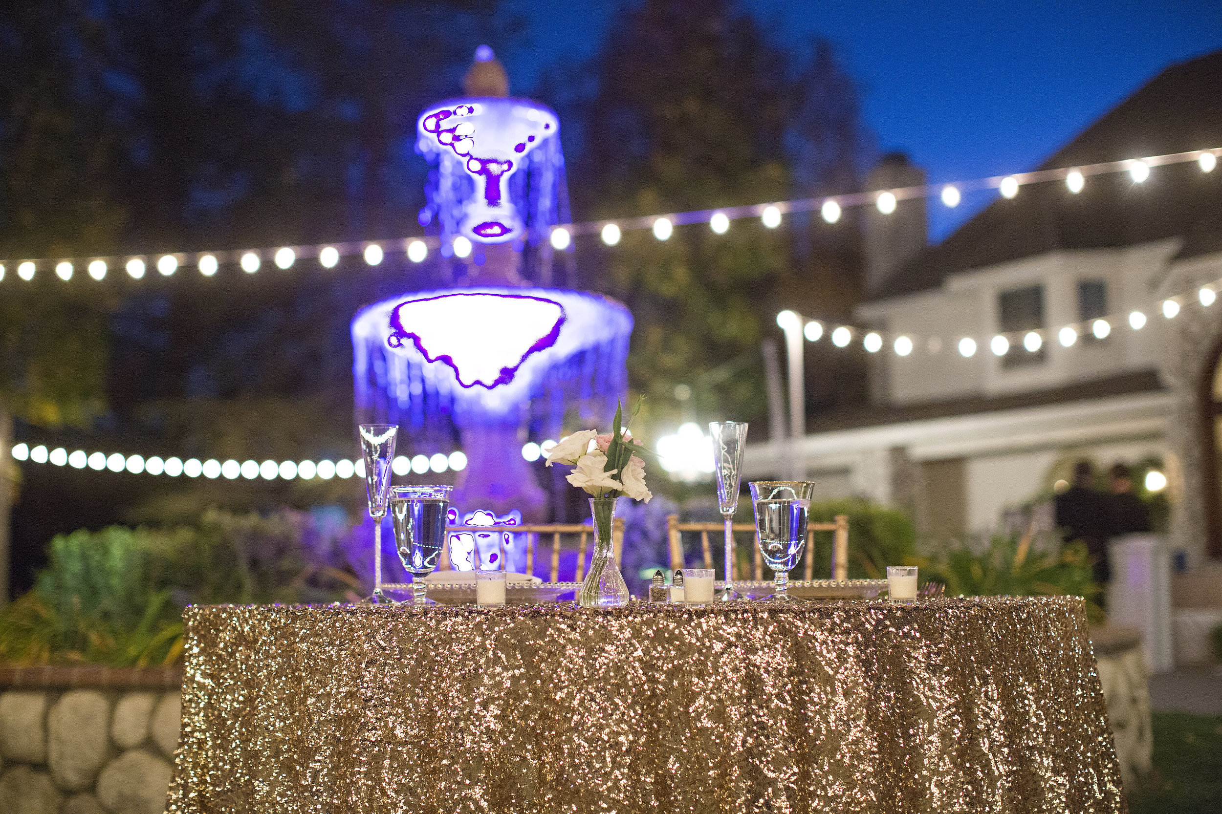 Gold Sequin Sweetheart Table | Temecula Private Estate Wedding | Michelle Garibay Events