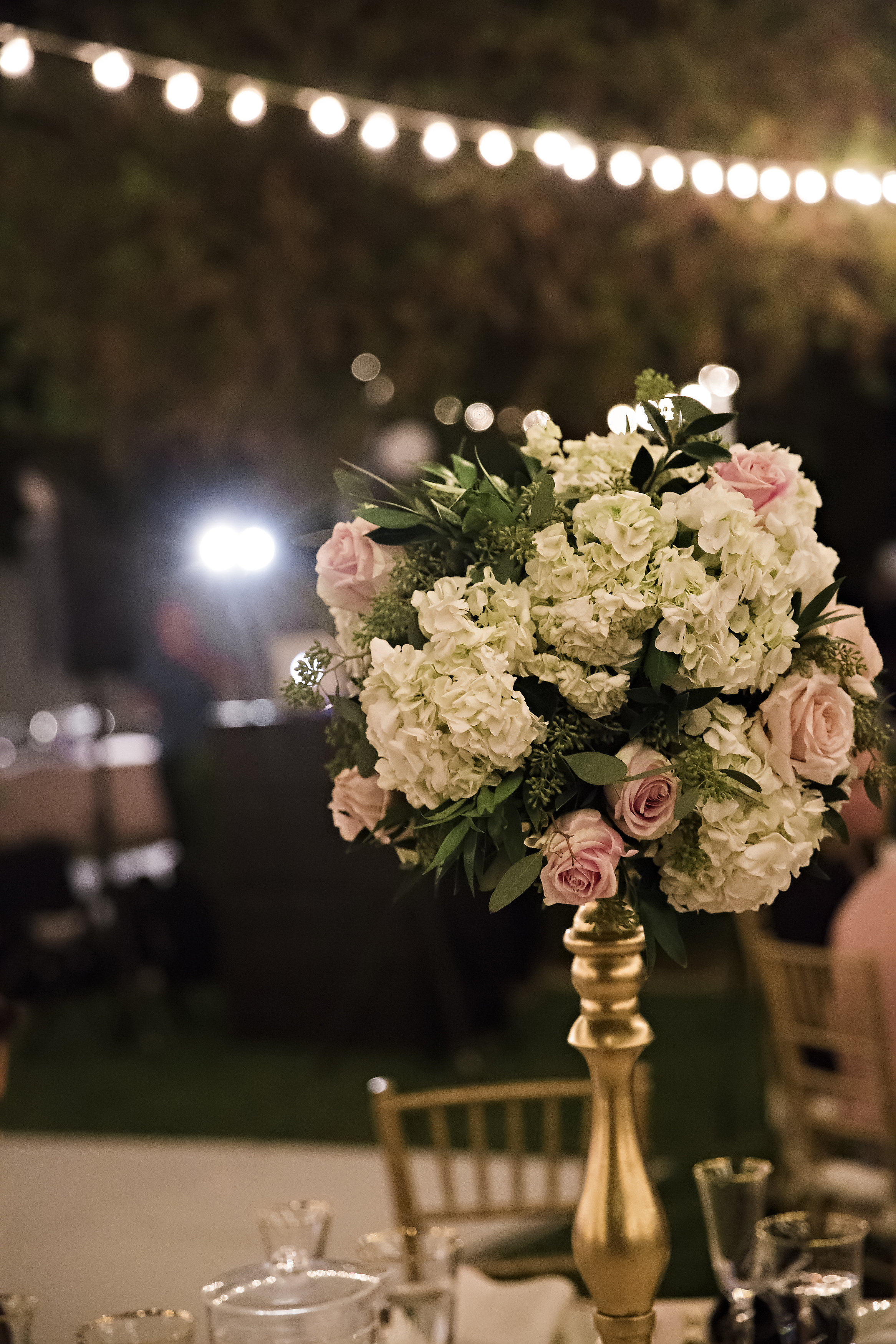 Tall White, Blush and Gold Centerpiece | Temecula Private Estate Wedding | Michelle Garibay Events