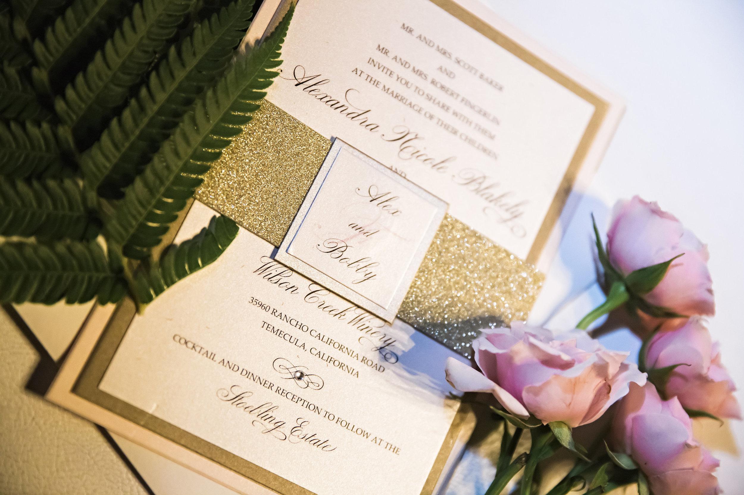 White and Gold Glitter Wedding Invitation | Temecula Private Estate Wedding | Michelle Garibay Events