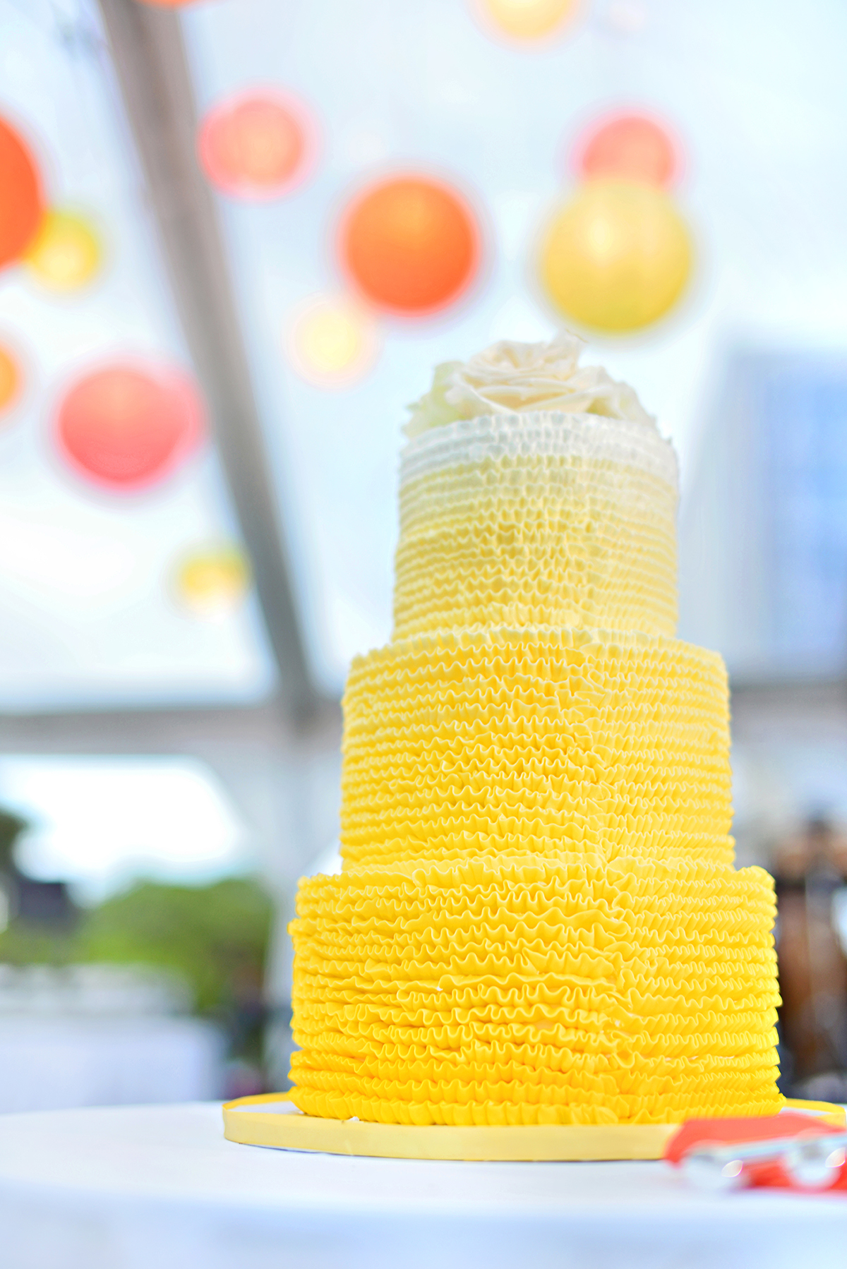 Michelle Garibay Events | Turtle Bay Resort Wedding | Hawaii Destination Wedding Planner | Yellow Ombre Wedding Cake