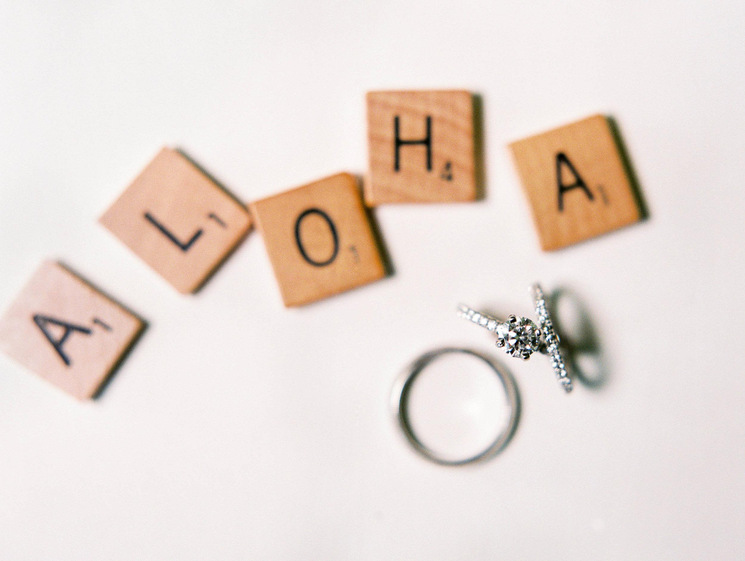 Michelle Garibay Events | Elegant Oahu Wedding | Loulu Palm Estate | Scrabble Wedding Details