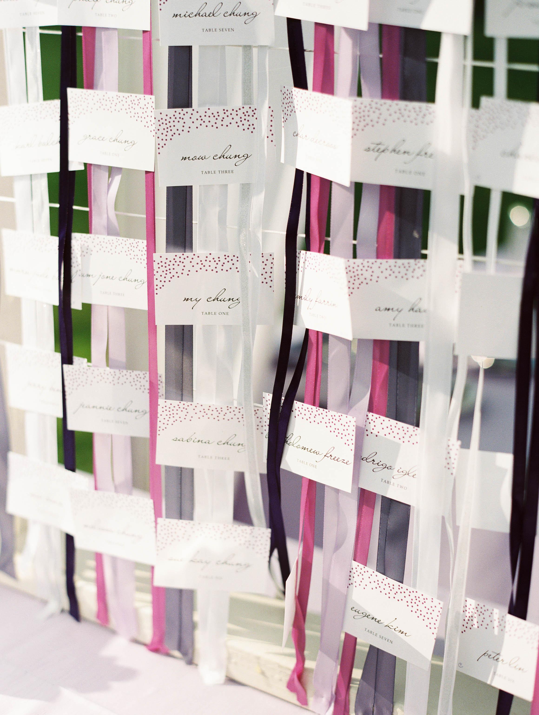Michelle Garibay Events | Elegant Oahu Wedding | Loulu Palm Estate | Destination Wedding Planner | Wash Line Escort Card Display