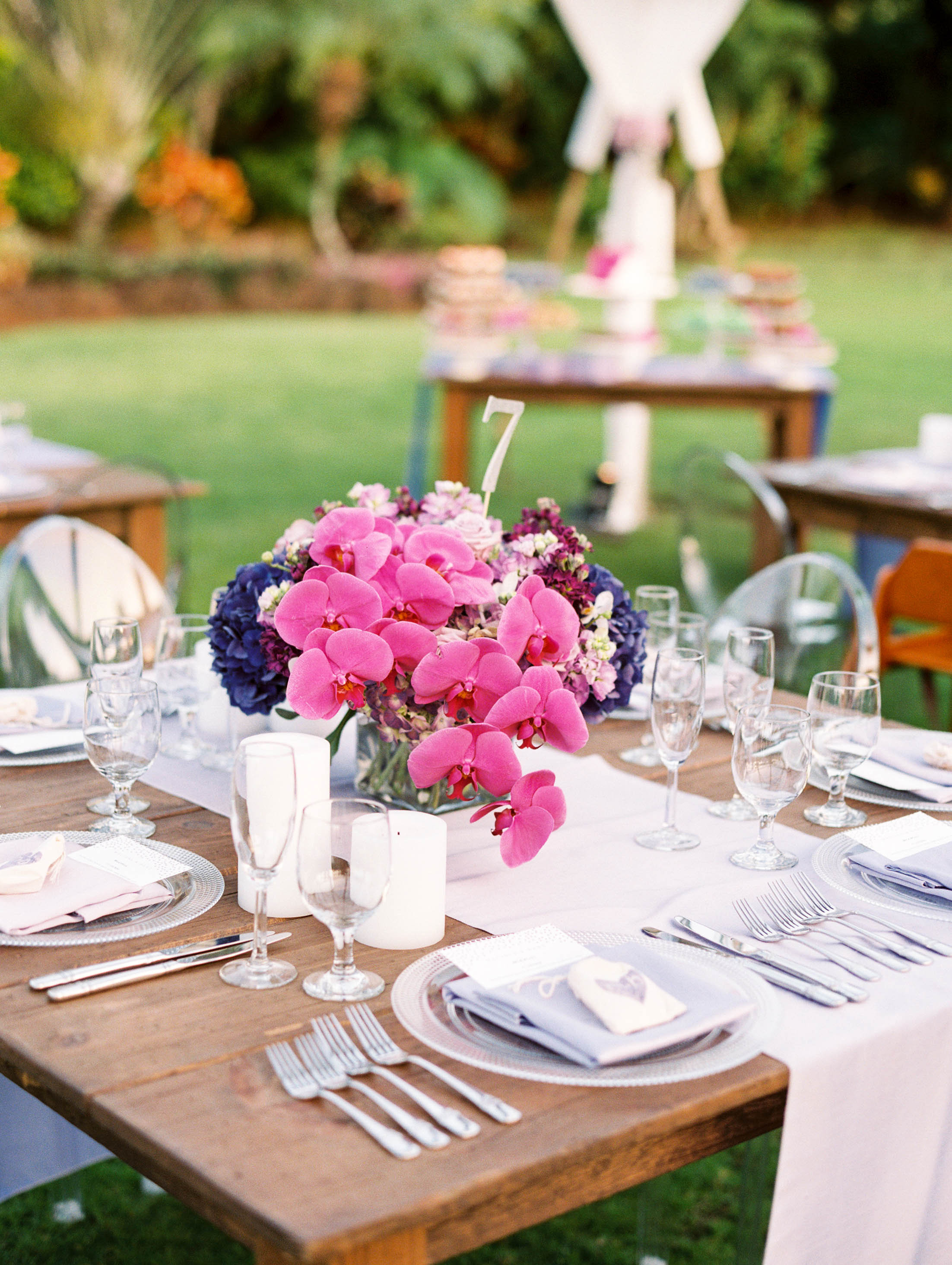 Michelle Garibay Events | Elegant Oahu Wedding | Loulu Palm Estate | Destination Wedding Planner | Purple Centerpiece