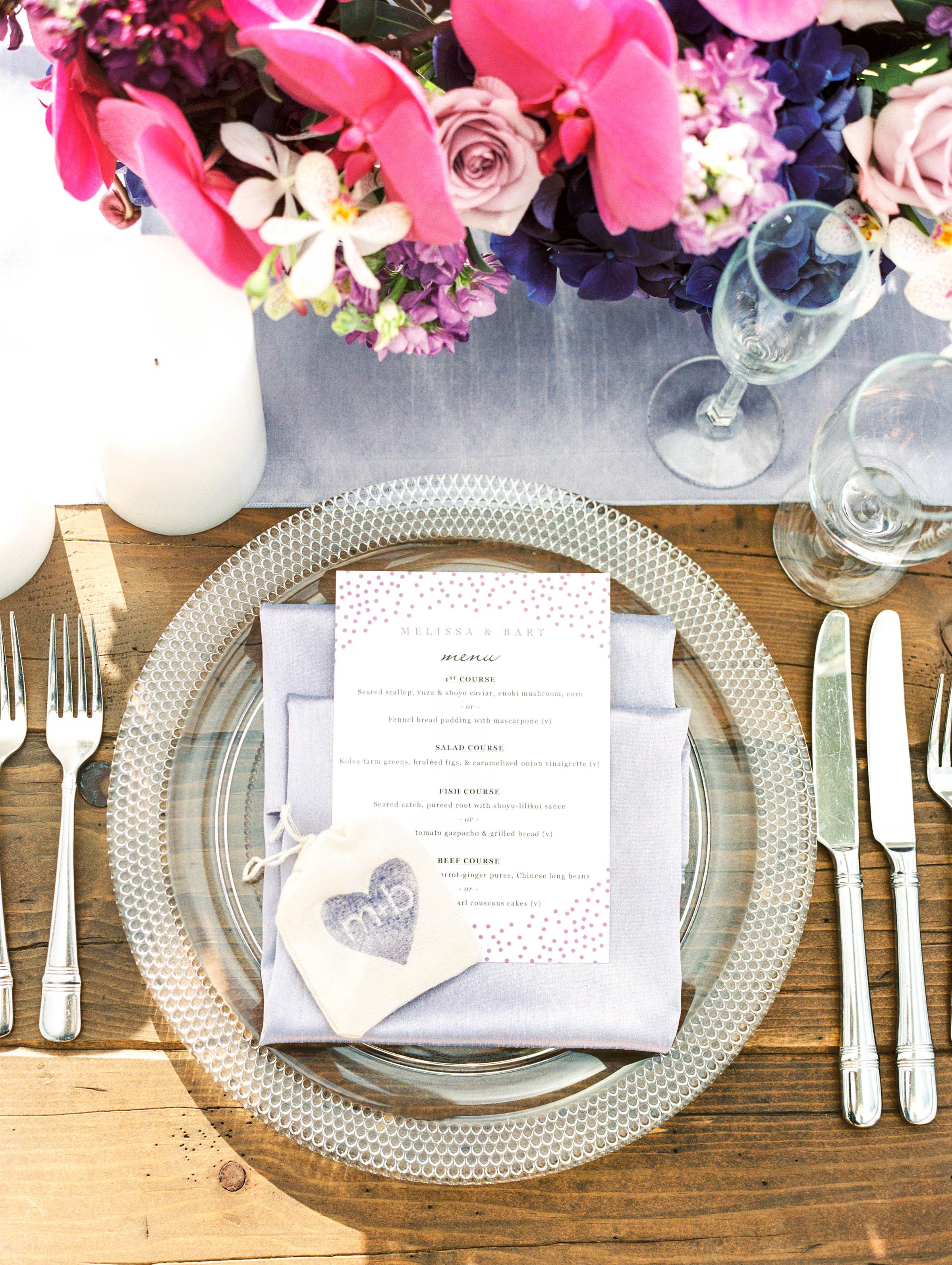 Michelle Garibay Events | Elegant Oahu Wedding | Loulu Palm Estate | Destination Wedding Planner | Lavender Placesetting Detail