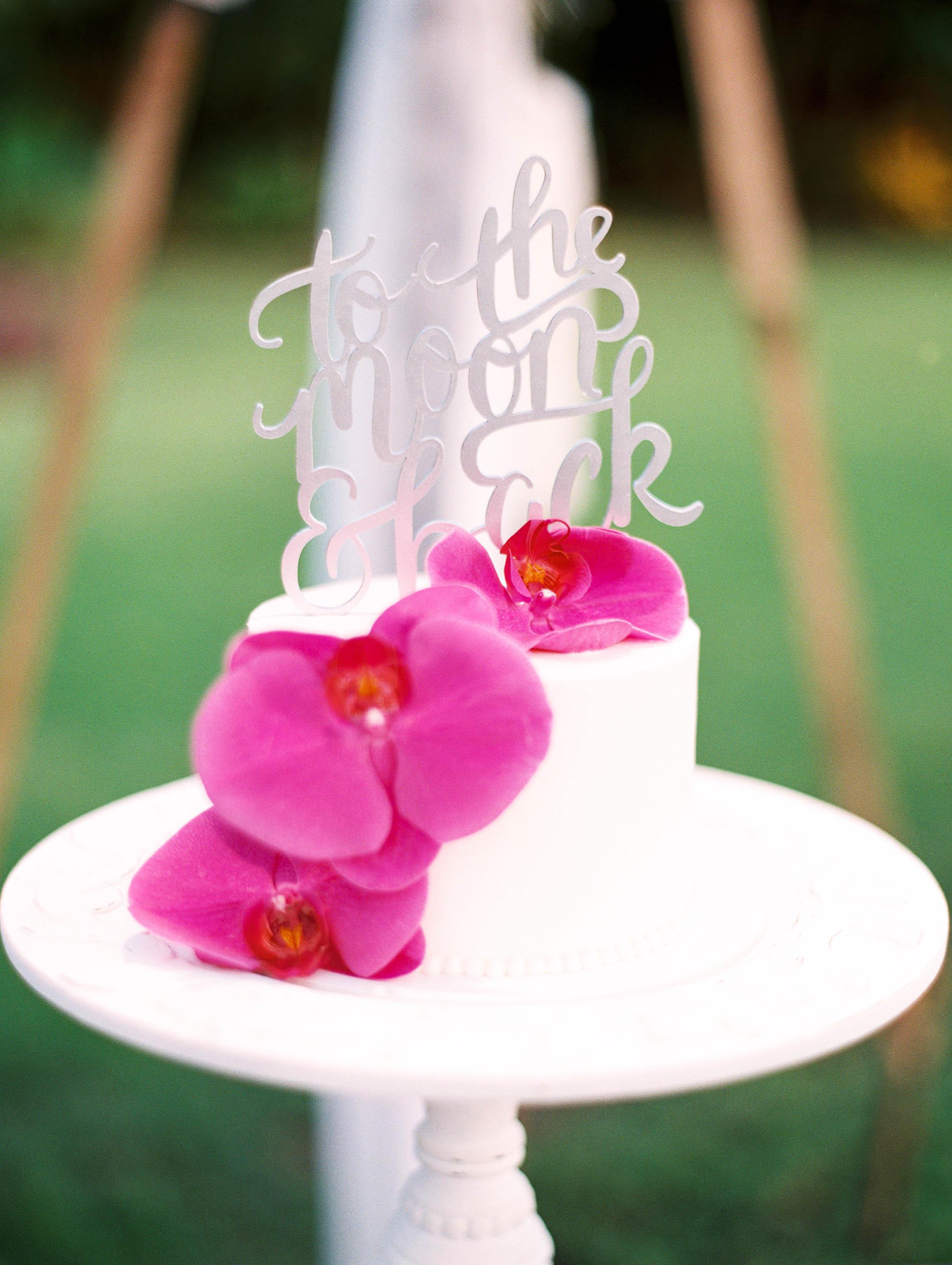 Michelle Garibay Events | Elegant Oahu Wedding | Loulu Palm Estate | Destination Wedding Planner | Purple Orchid Wedding Cake