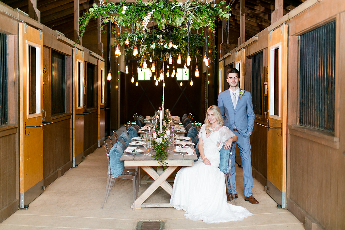 Slate Blue and Greenery Ranch Wedding Inspiration | Leah Marie Photography | Michelle Garibay Events
