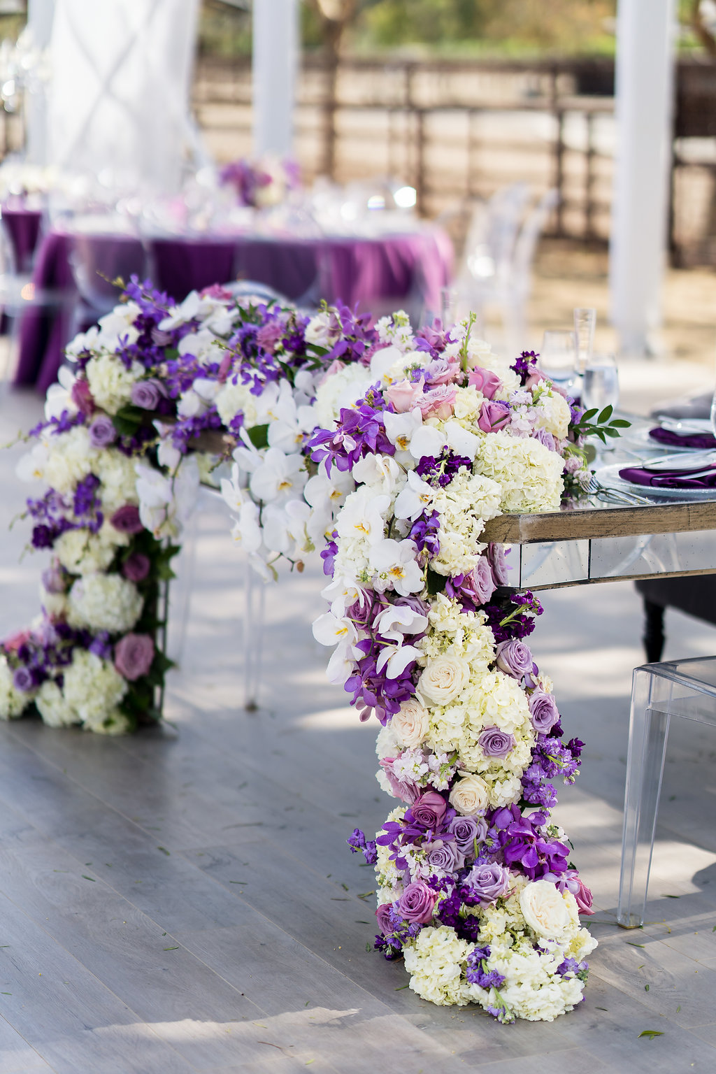Brian Leahy Photo | Michelle Garibay Events | Luxury Temecula Wedding | La La Land Purple Wedding | Hollywood Glam Wedding | Lush Floral Garland | Soiree Floral Design