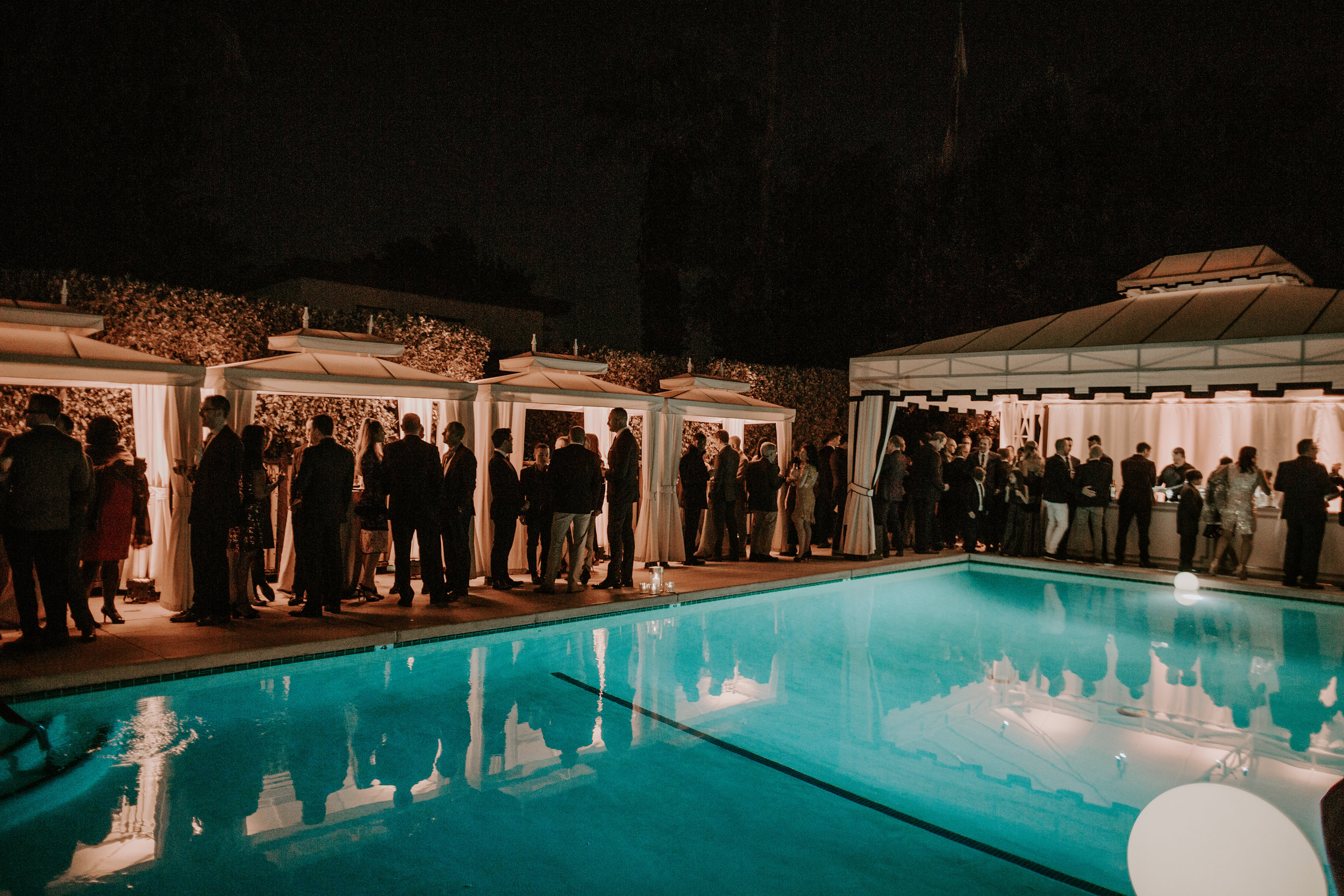 Michelle Garibay Events   Rouxby   Avalon Palm Springs   Masculine Chic Wedding in Navy and Gray   Cocktail Hour at The Presidio Pool