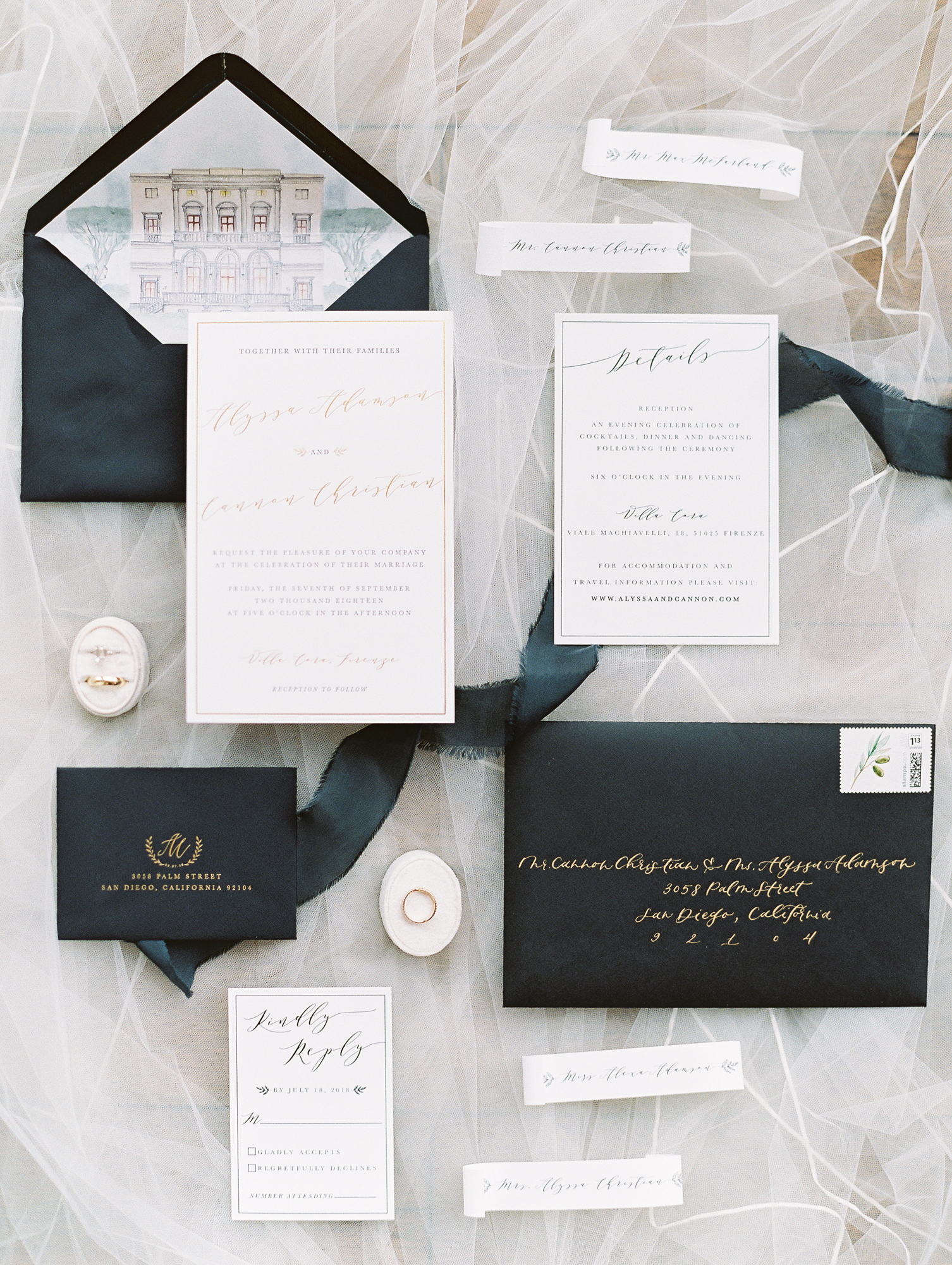 Michelle Garibay Events | Cavin Elizabeth Photography | Elegant Black, White and Gold Wedding | Custom Illustrated Envelope Liner