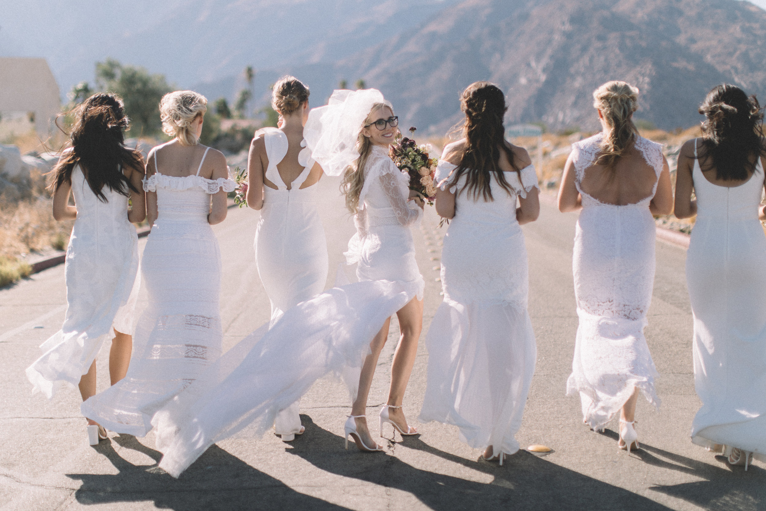 Michelle Garibay Events | Jenavieve Belair | Avalon Palm Springs | Modern Style Meets Farm-to-Table in Fig, Peach and Dusty Mauve | Desert Bridal Party Photos
