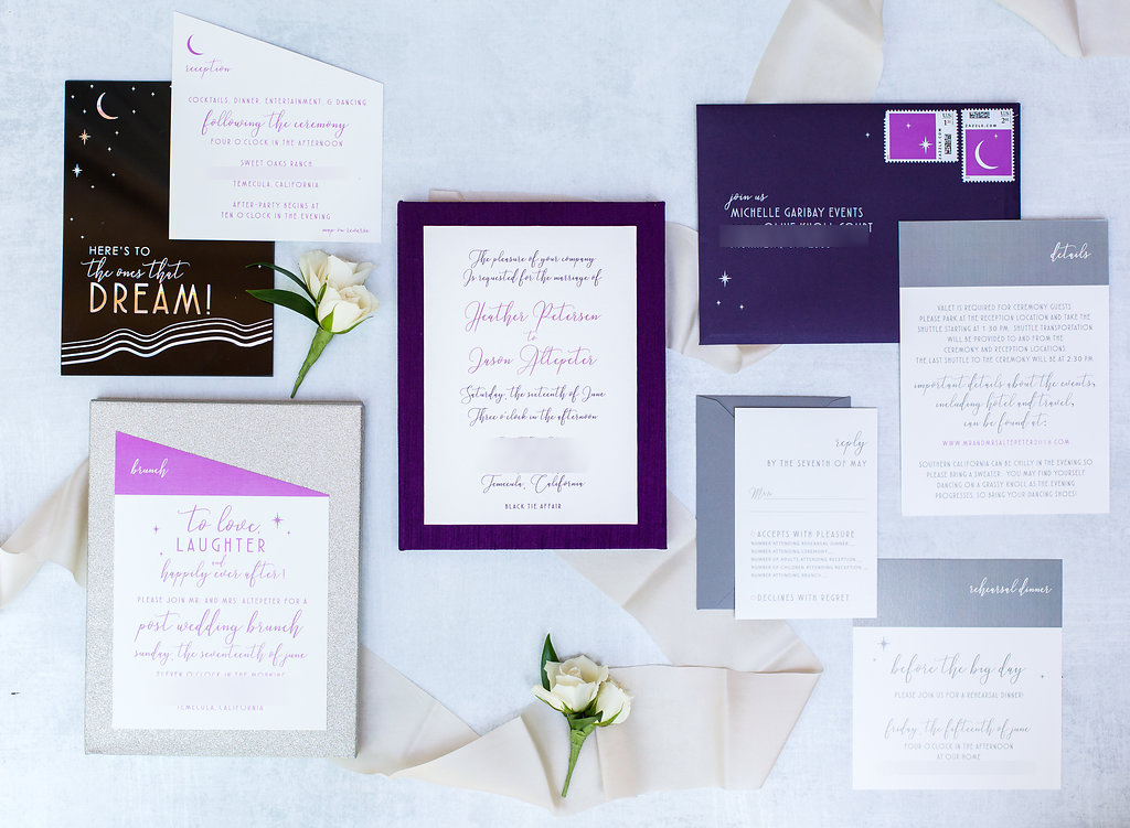 Brian Leahy Photography | Michelle Garibay Events | Luxury Temecula Wedding | La La Land Purple Wedding | Meldeen | Holographic Invitation