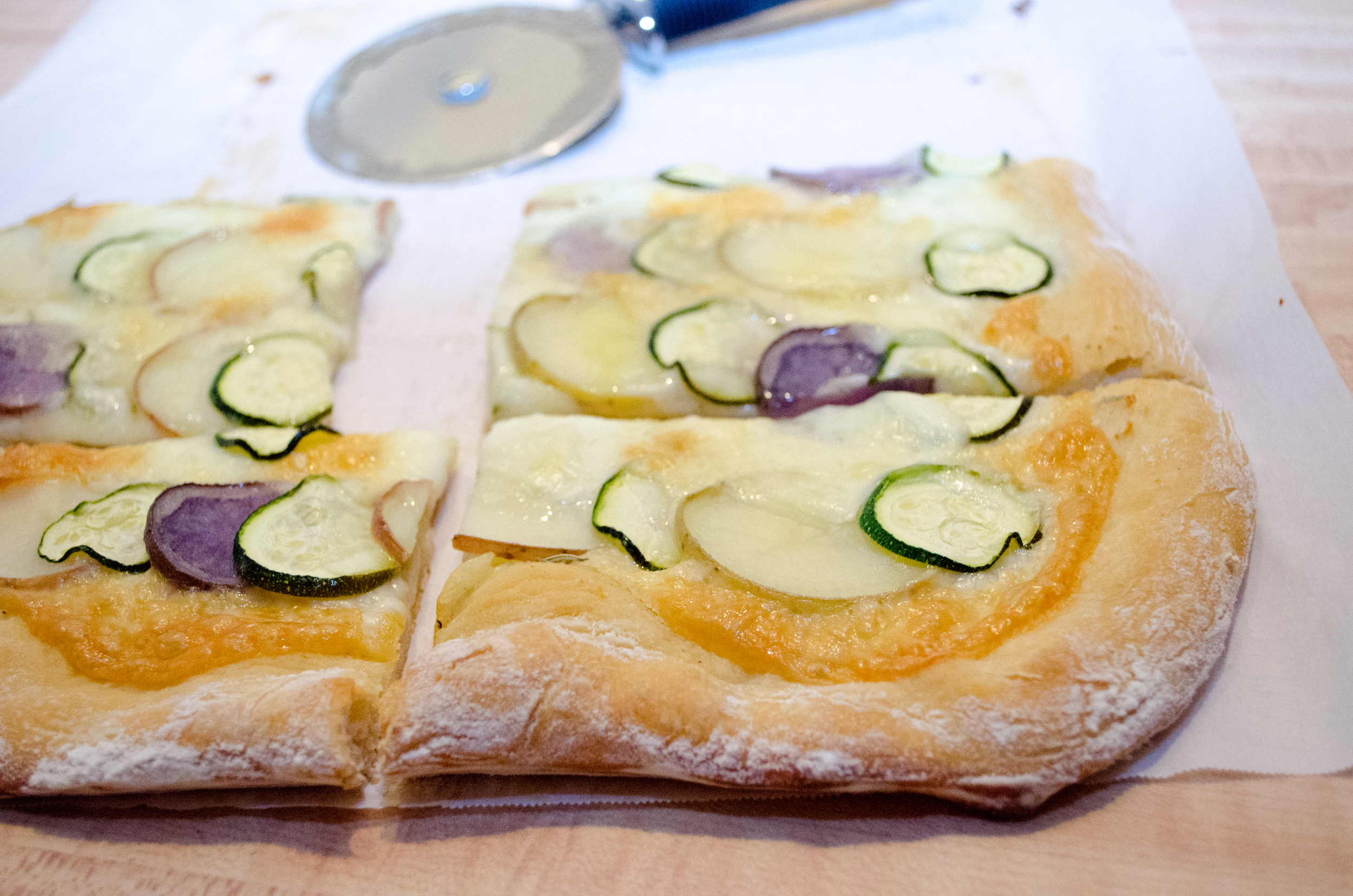Zucchini and Potato Pizza with Garlic and Rosemary