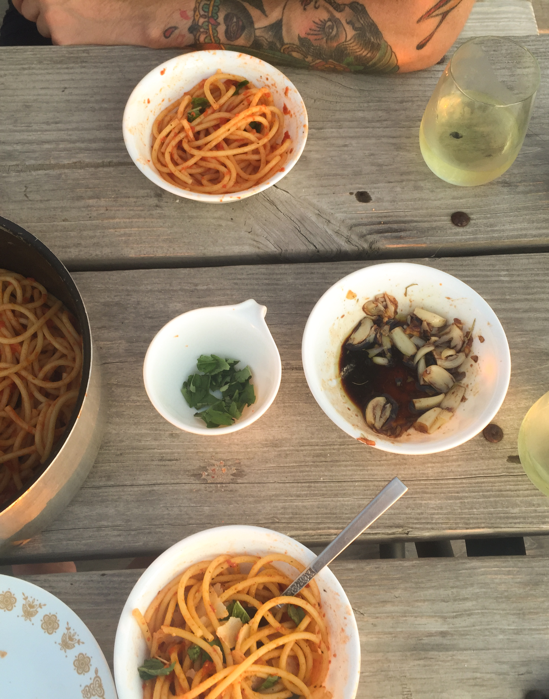Pasta, bread with roasted garlic and balsamic, and wine on the deck. There's nothing better.