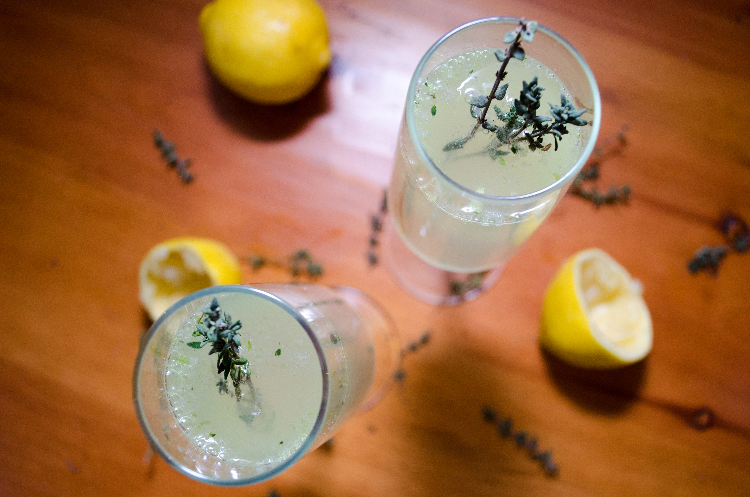 celery-thyme sparkling cocktail