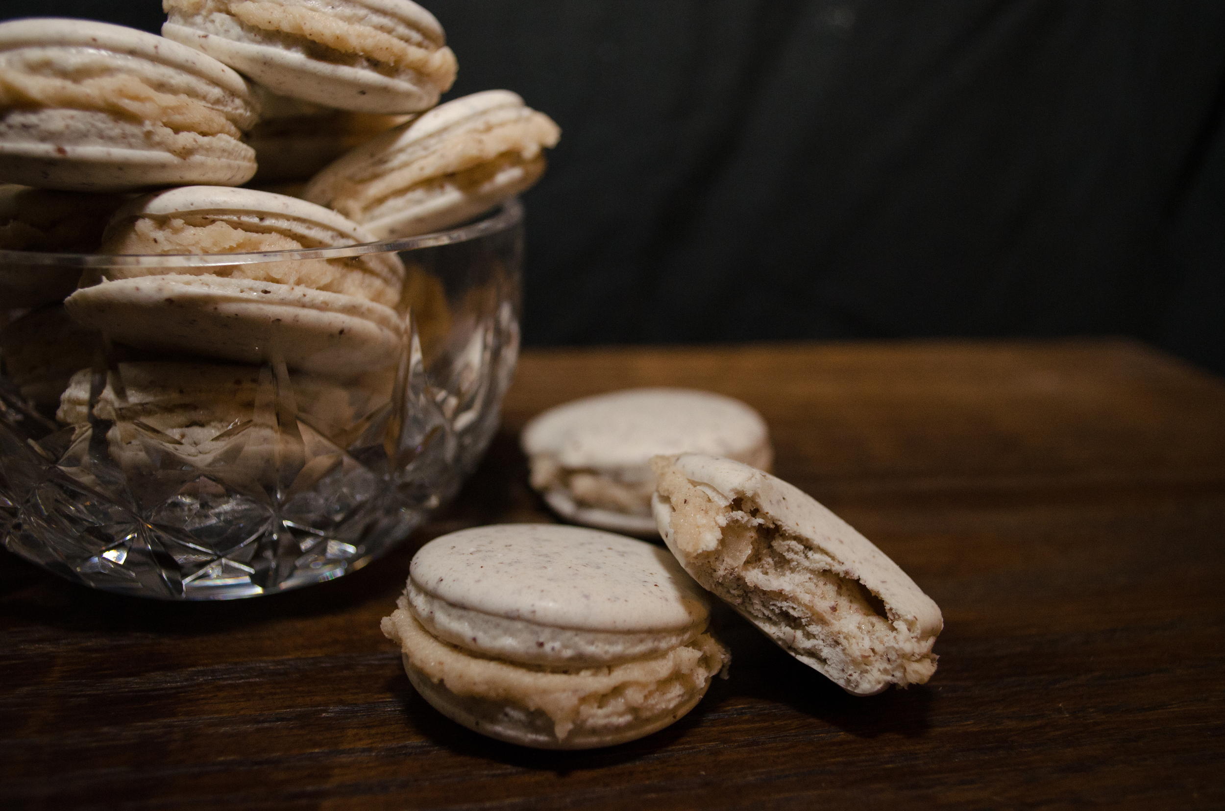vegan hot buttered bourbon macarons