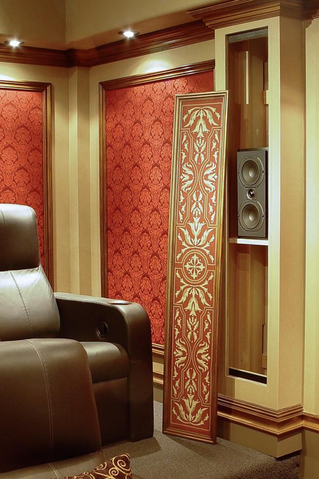 Fabric panels hide surround speakers