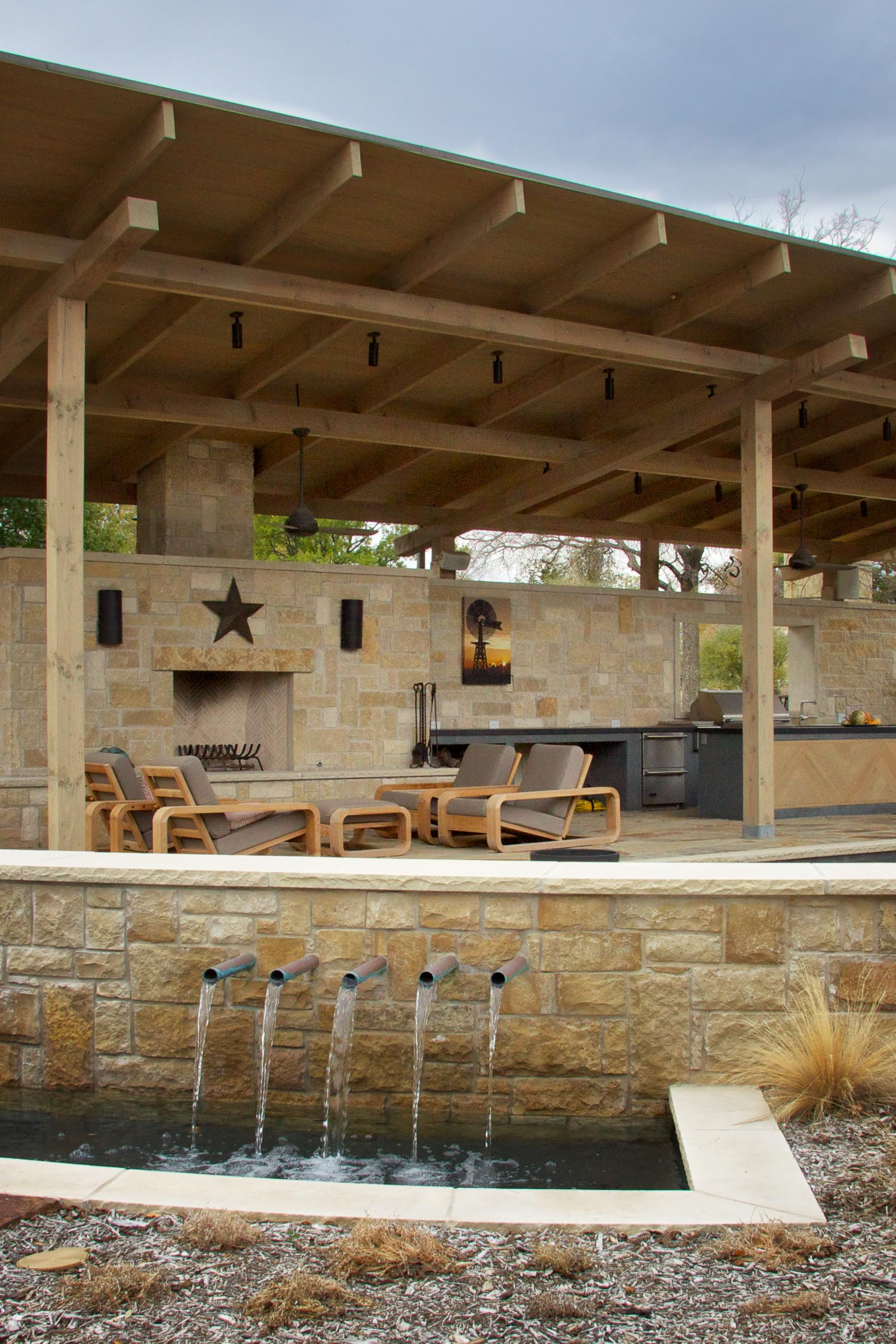 McKinney, Texas  Winter view of a year-long project.  This Frisco backyard will rival Disney, when it's complete.  It's wired for two outdoor TVs.  Speakers are placed strategically throughout the yard.  The main entertainment area has a Jack Pack,  allowing live entertainment to plug in to the whole-home audio system.