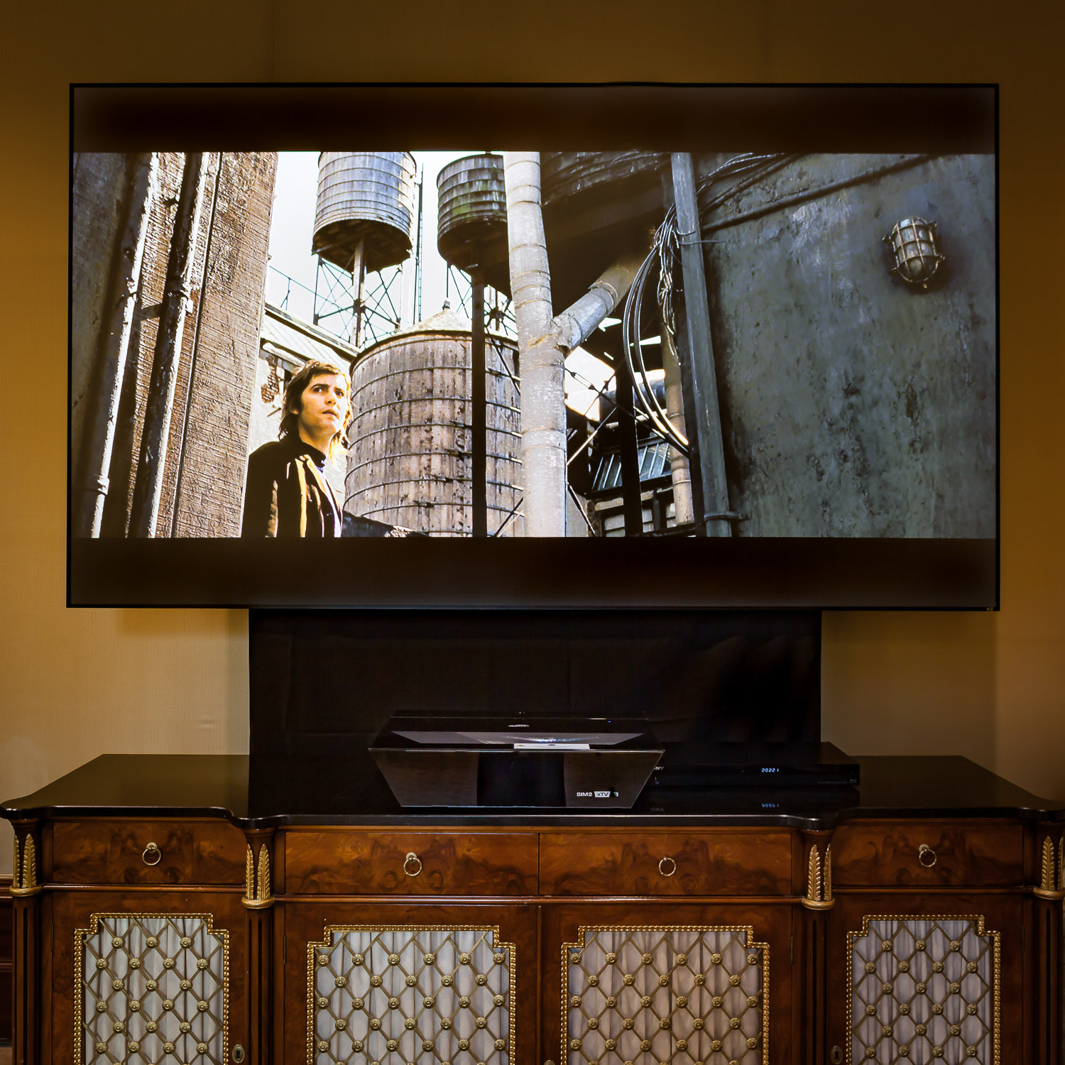 Awesome short-throw projector, mentioned below—our installation at the Ritz-Carlton, Dallas.