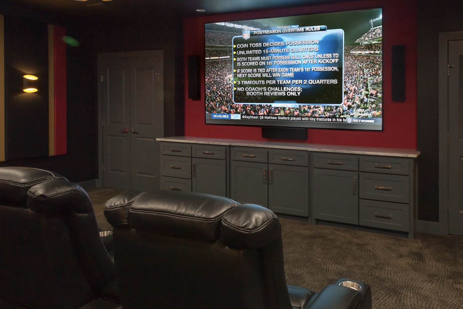 Acoustical treatment, step lights, and speakers in Dallas