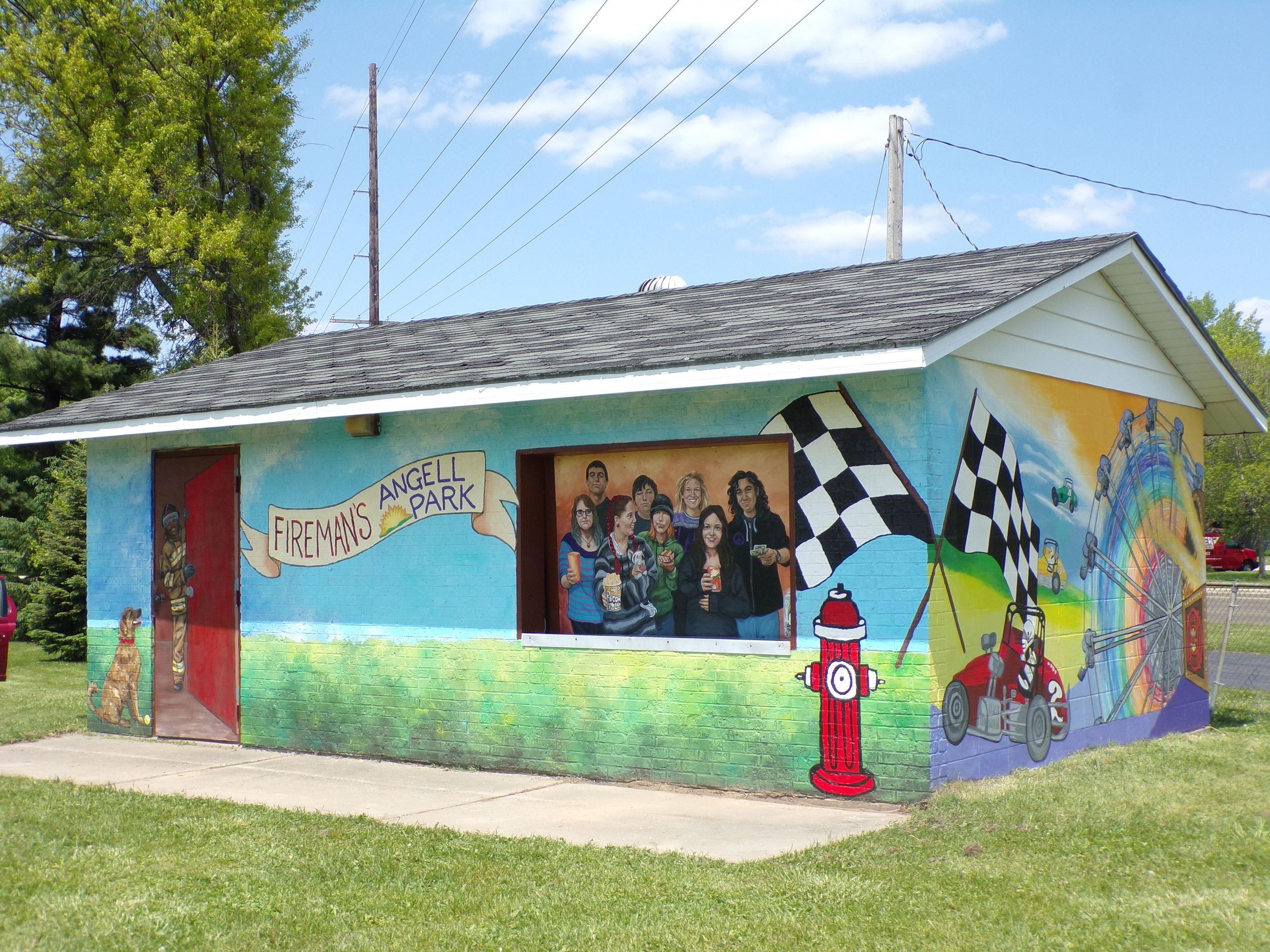 Mural at the concession stand, Sun Prairie Firemen's Angell Park, Sun Prairie