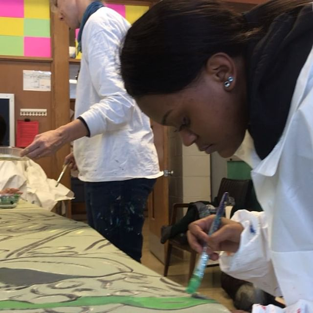 Painting with the West high school SAIL program students. 8x15 feet Butterfly mural for sale to raise funds for DAMA programming. Can be installed in an interior or exterior space. #danearts #murals