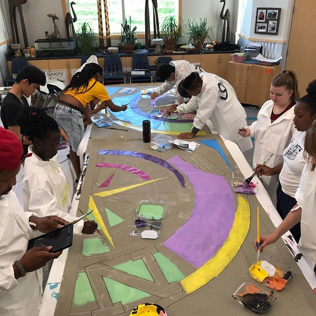 The DAMA Summer Institute is off to a great start. 10 high school students signed up to paint the Job Center mural (Aberg Ave and Sherman Ave.). They will paint for 7 weeks at Vera Court Community Center, Madison. #danearts #murals