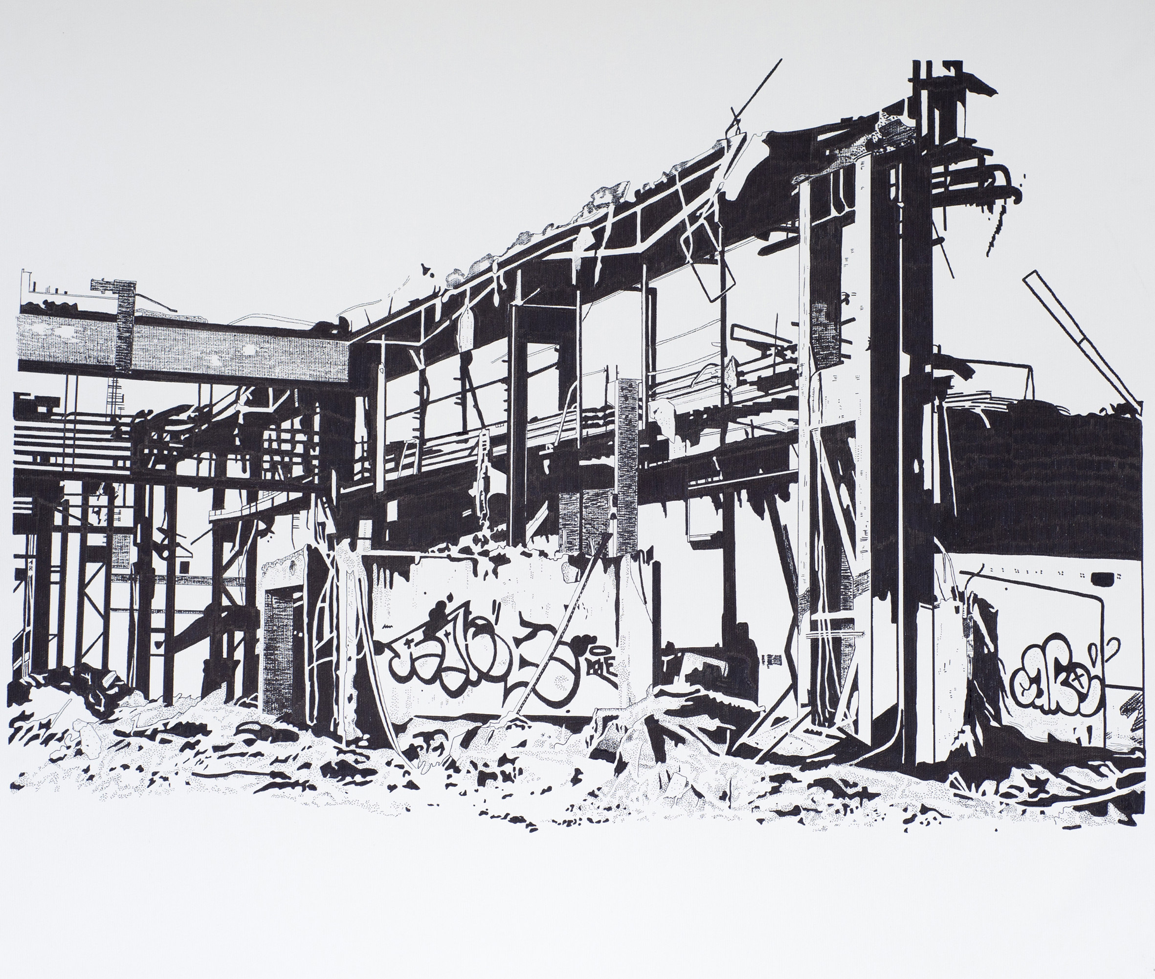 halle_1_g  permanent marker // canvas 100cm x 82.5cm (frame) 2015